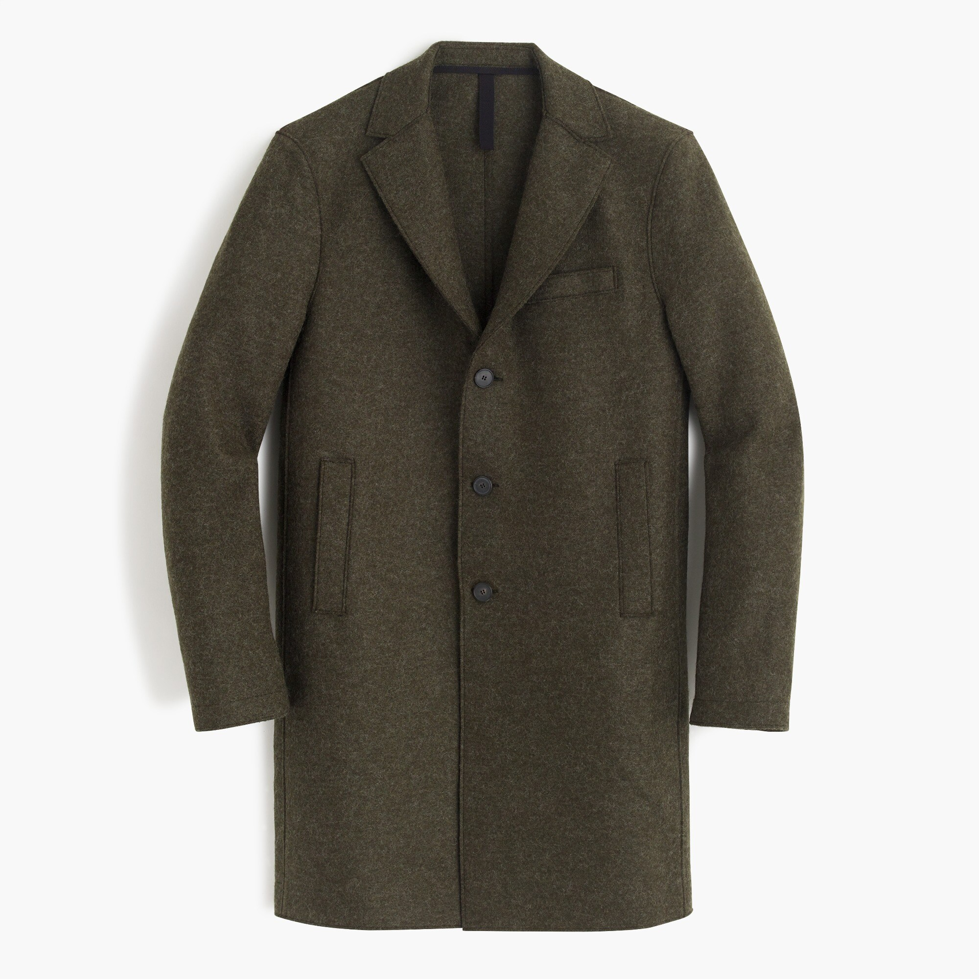 Harris Wharf London™ pressed wool topcoat in olive men coats & jackets c