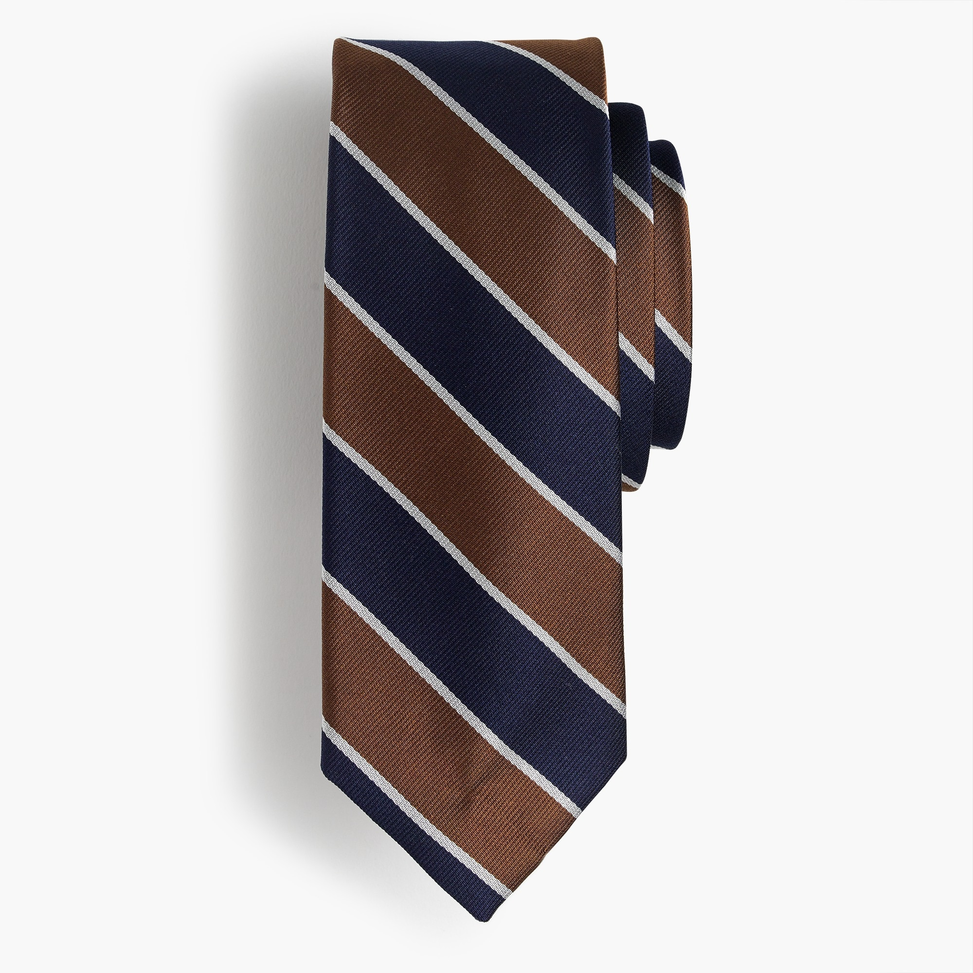 Silk tie in brown and blue stripe