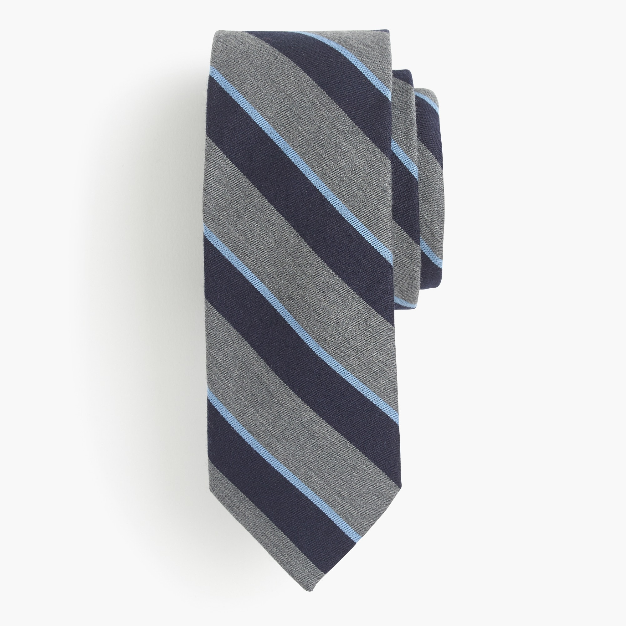 Wool-silk tie in grey stripe