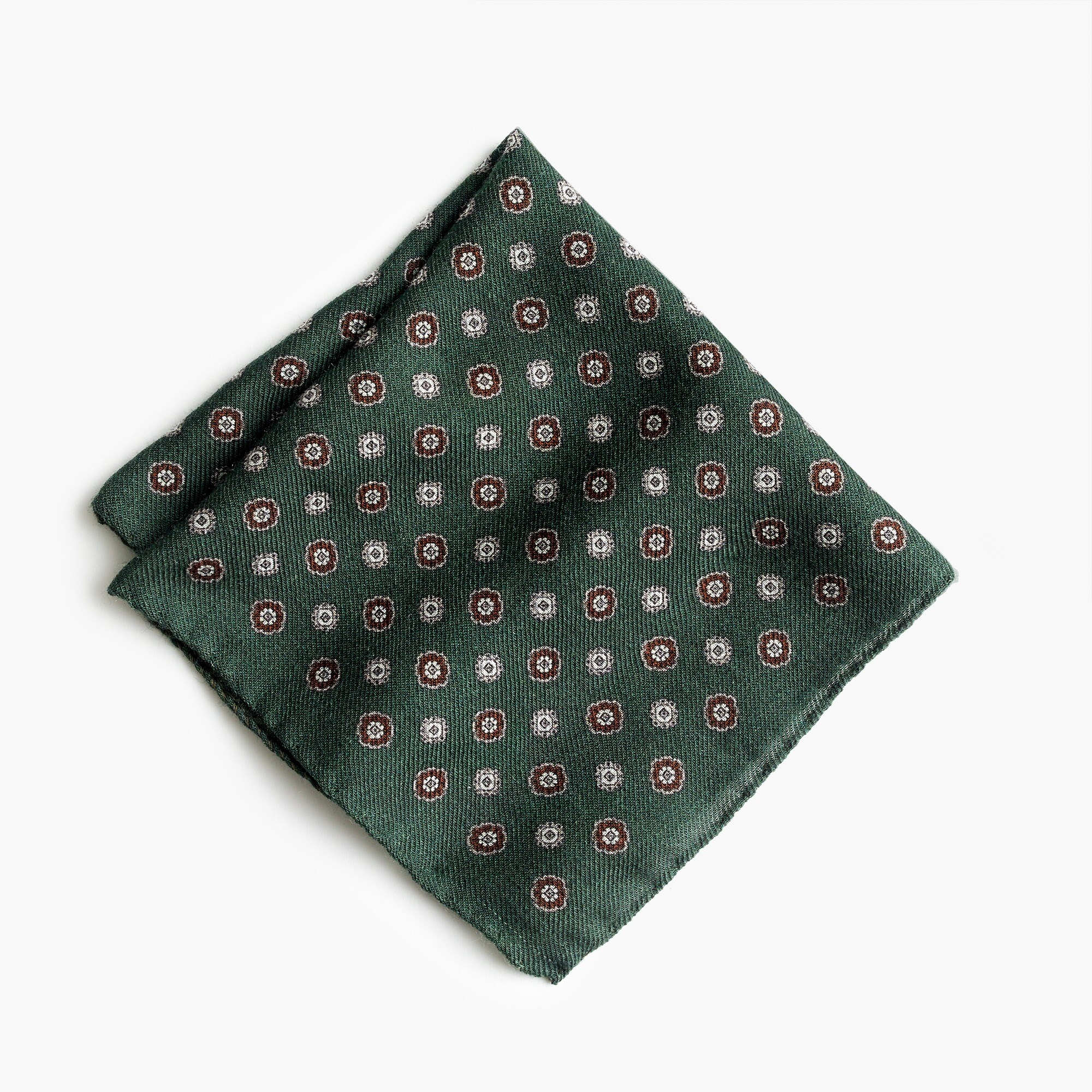 wool flannel pocket square in medallion pattern : men pocket squares