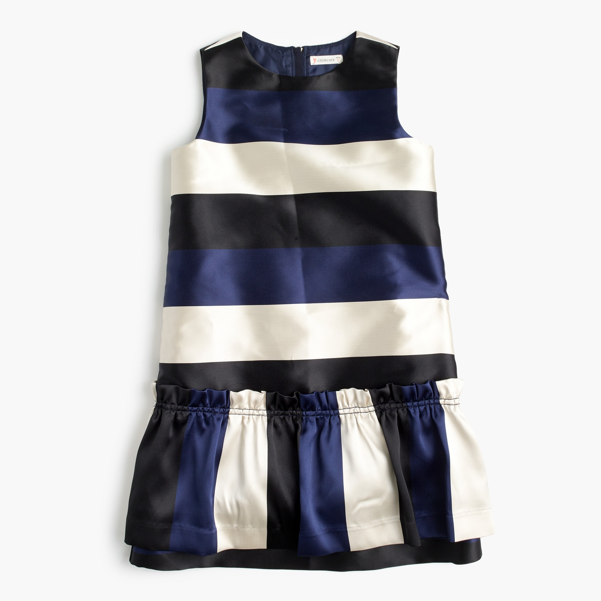 Image 1 for Girls' drop-waist dress in striped satin