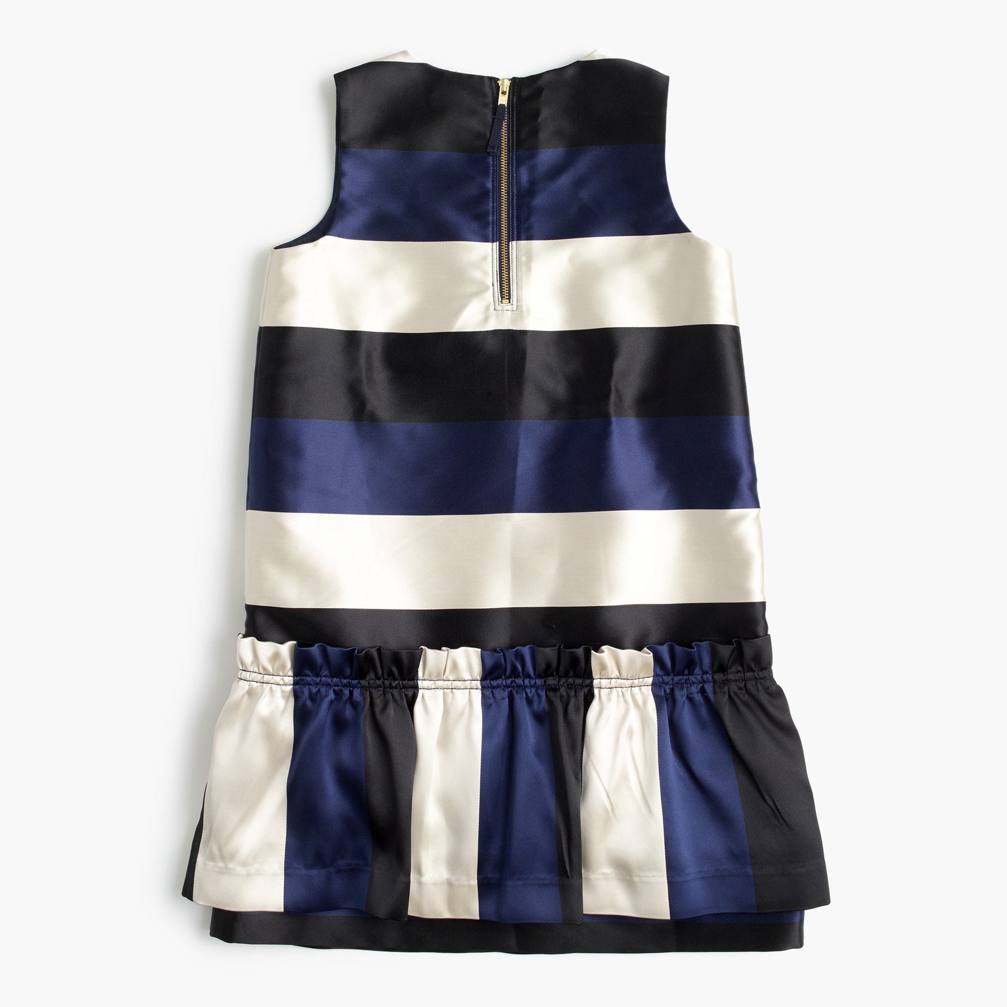 Girls' drop-waist dress in striped satin
