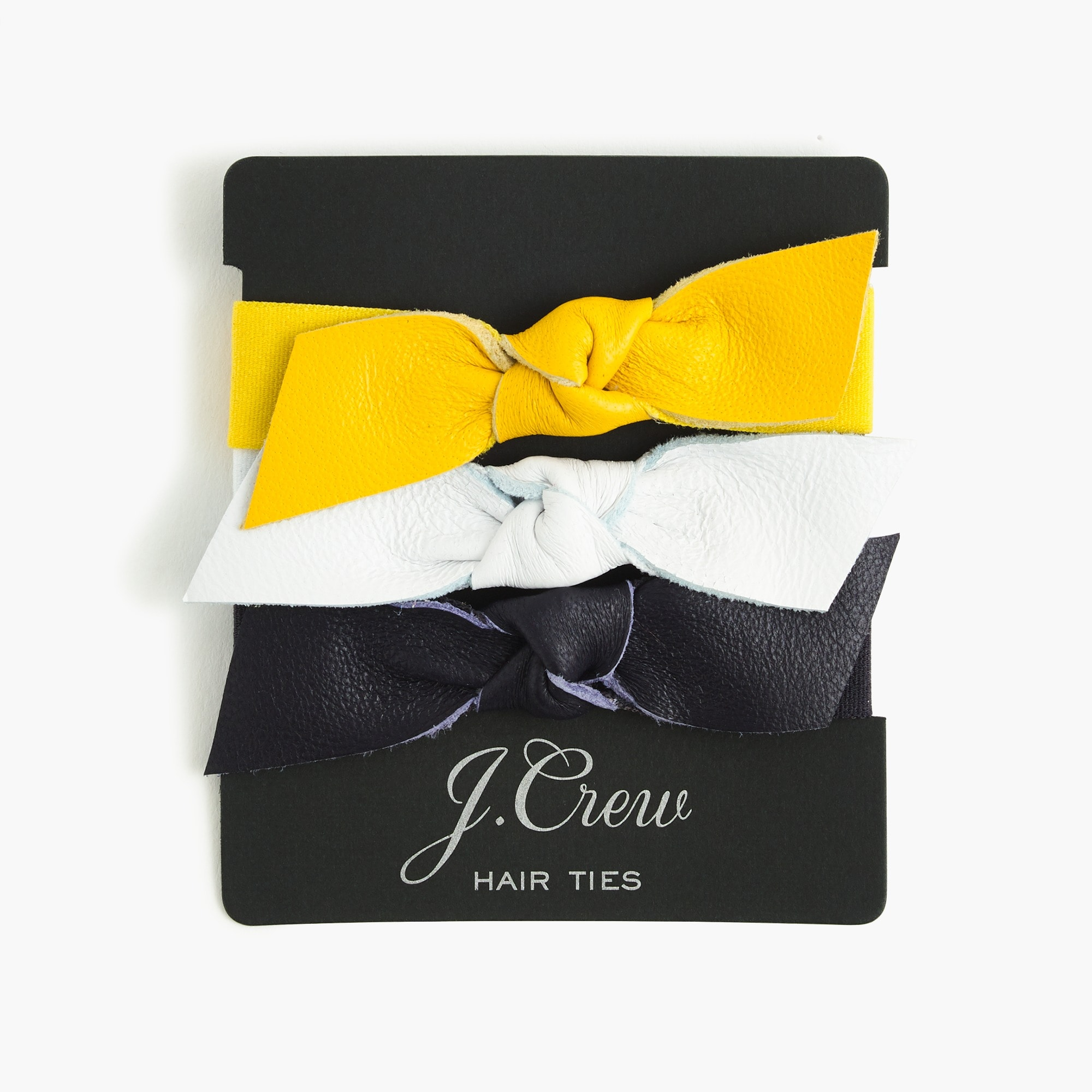 Leather bow hair ties women accessories c