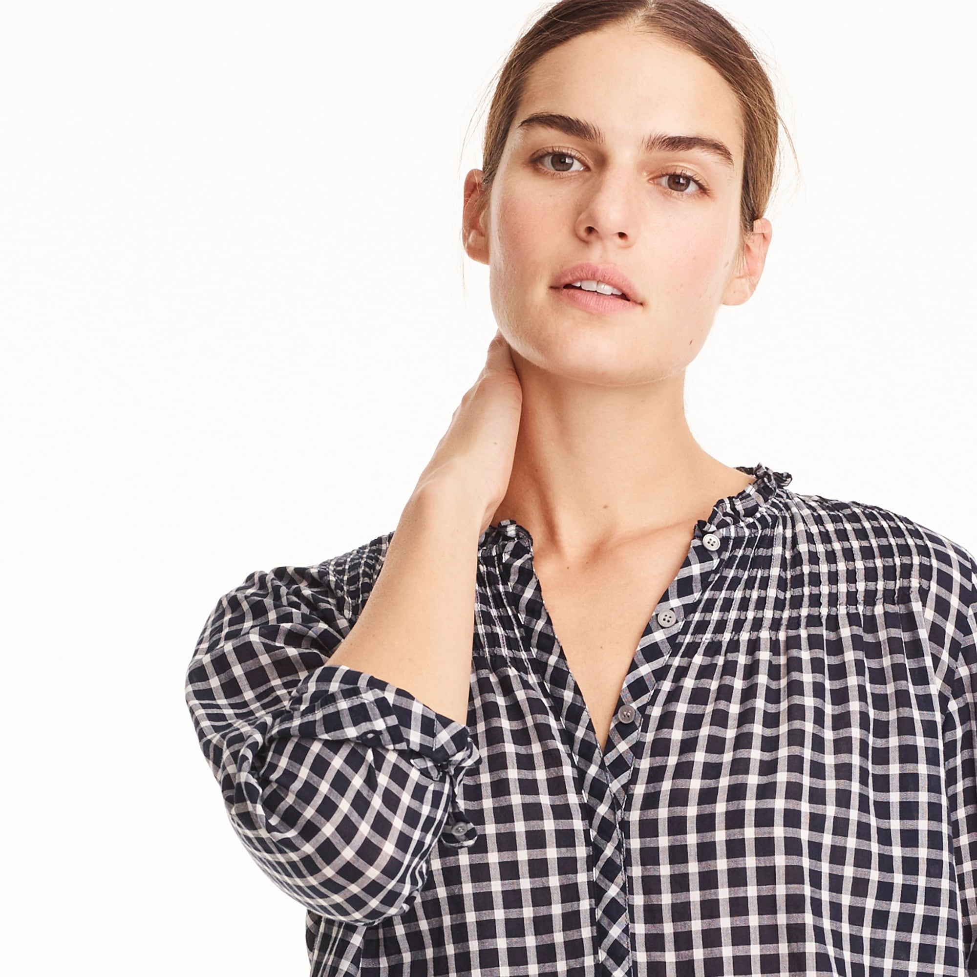 Petite ruffle classic popover shirt in mini windowpane