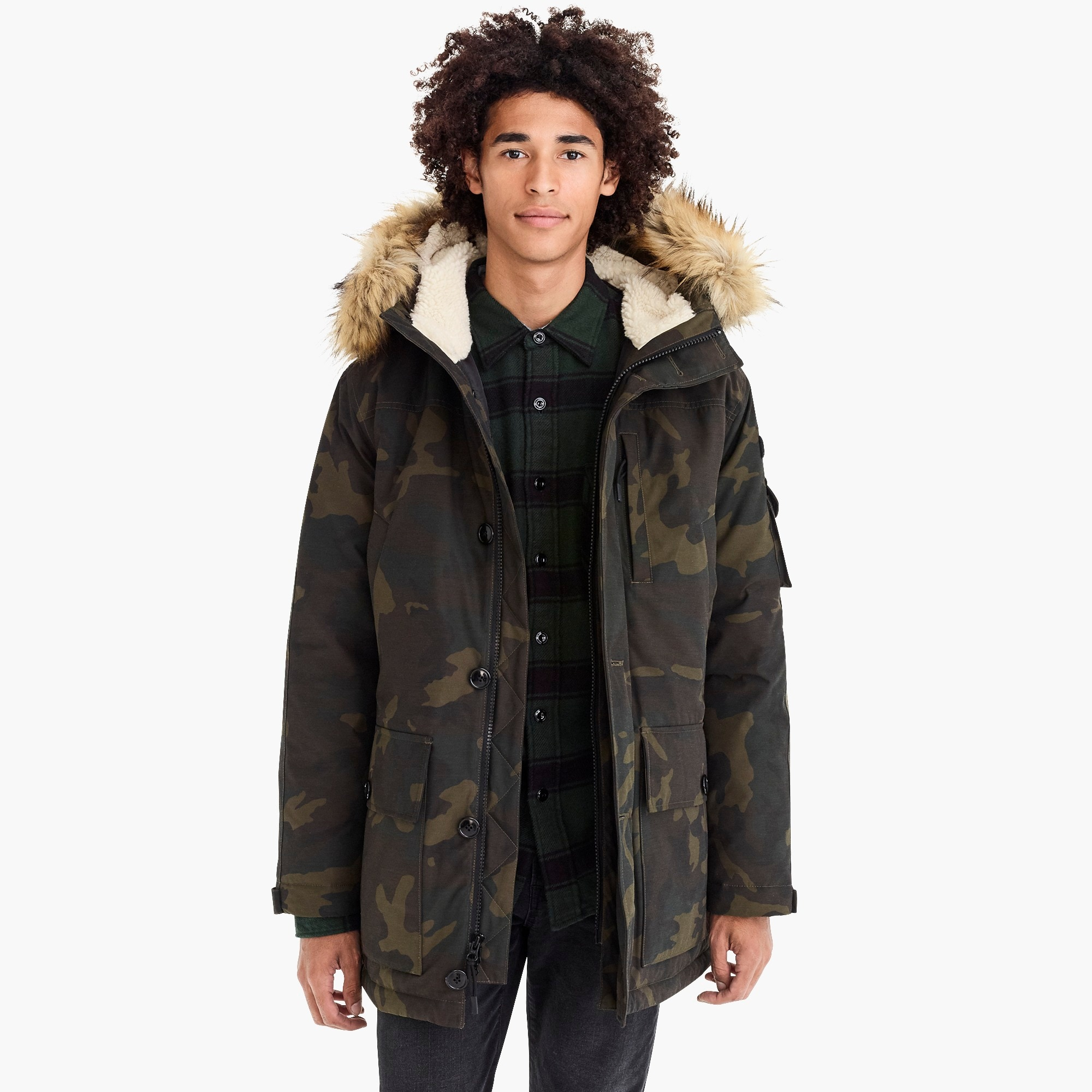 mens Nordic down parka in camo with eco-friendly Primaloft®