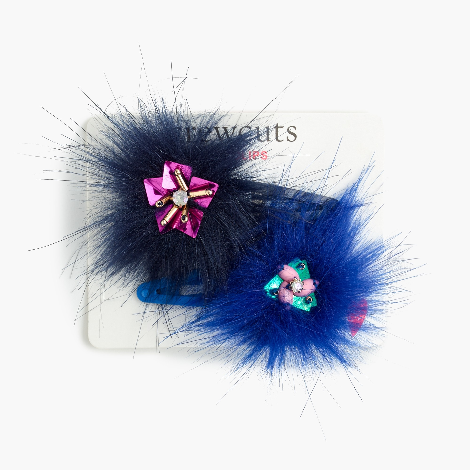 Girls' furry beaded hair clips