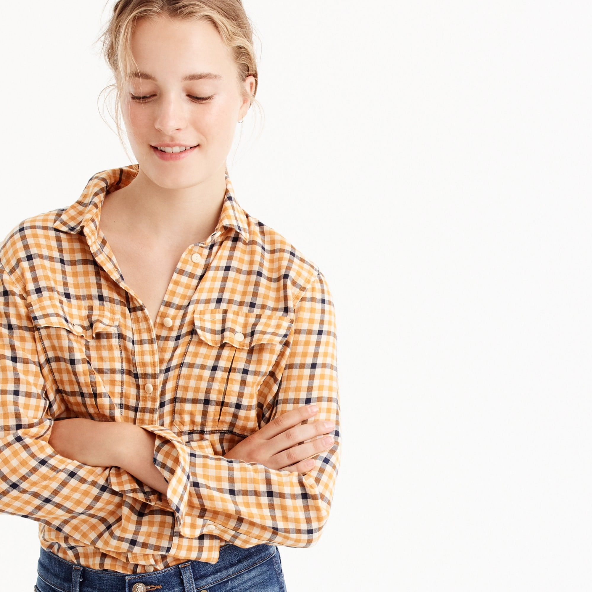 petite boyfriend shirt in topaz plaid : women shirts & tops