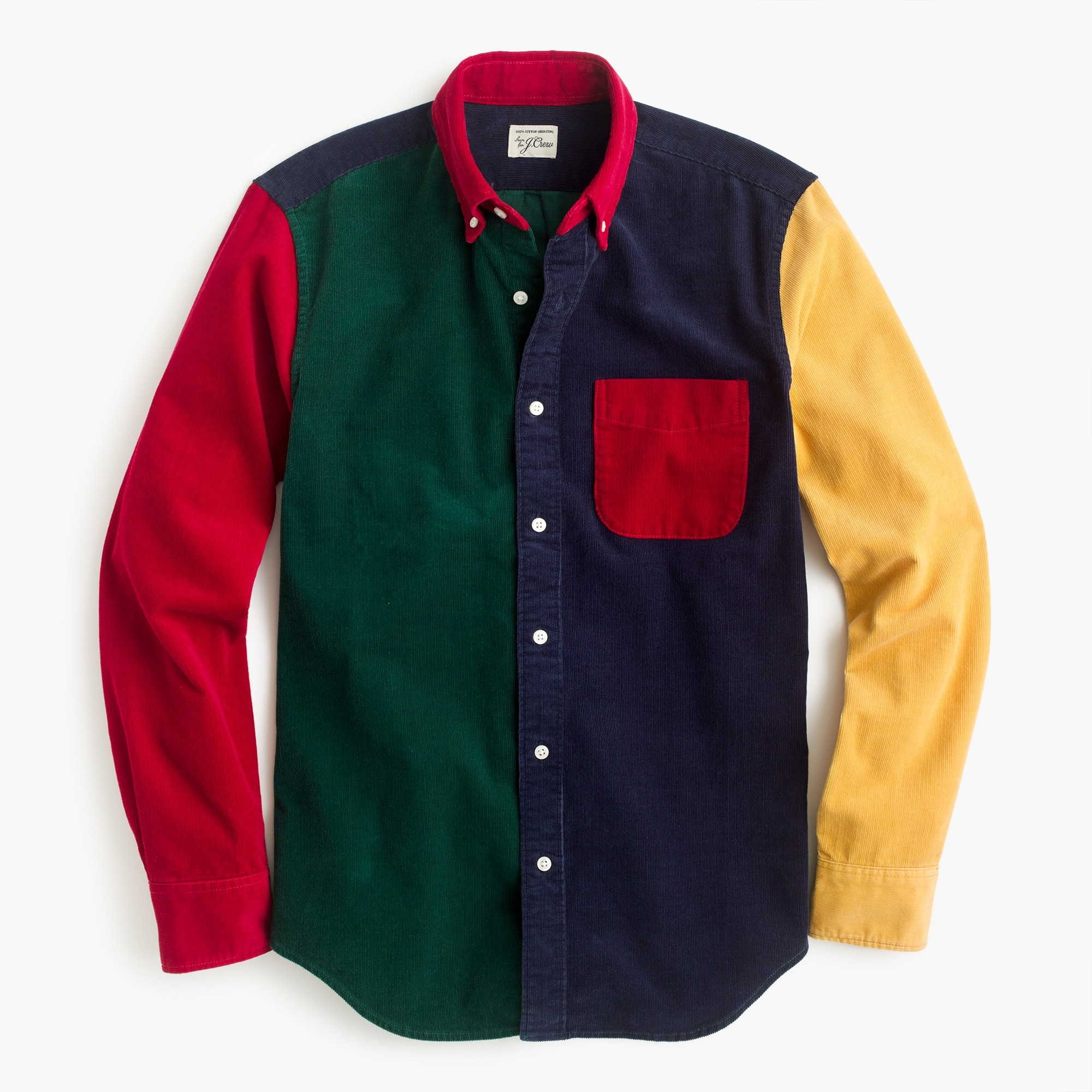 Corduroy shirt in colorblock