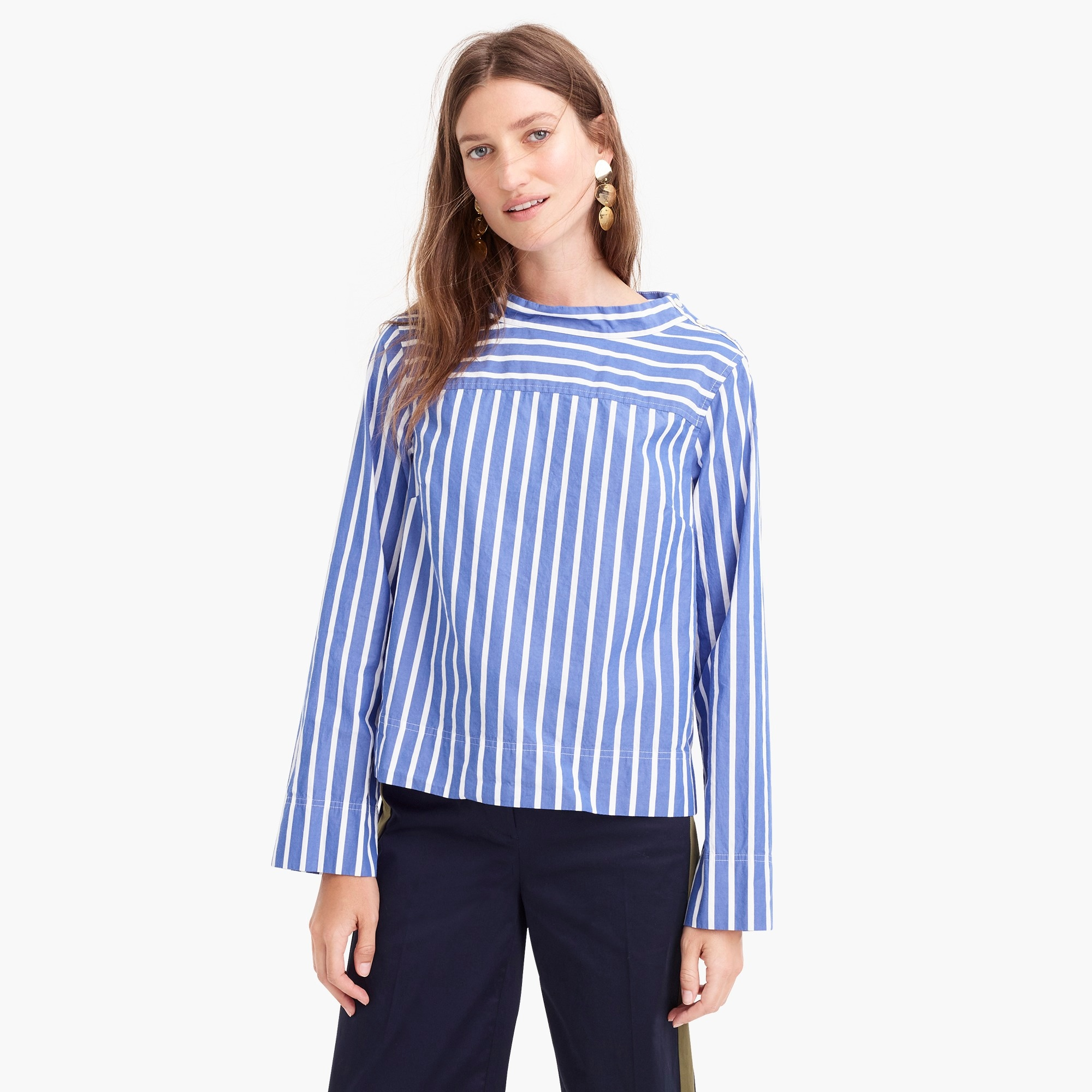 Tall funnelneck striped shirt