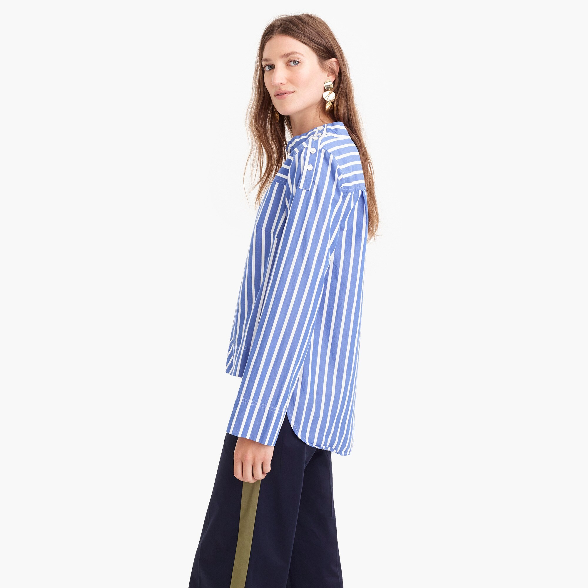 Image 5 for Tall funnelneck striped shirt