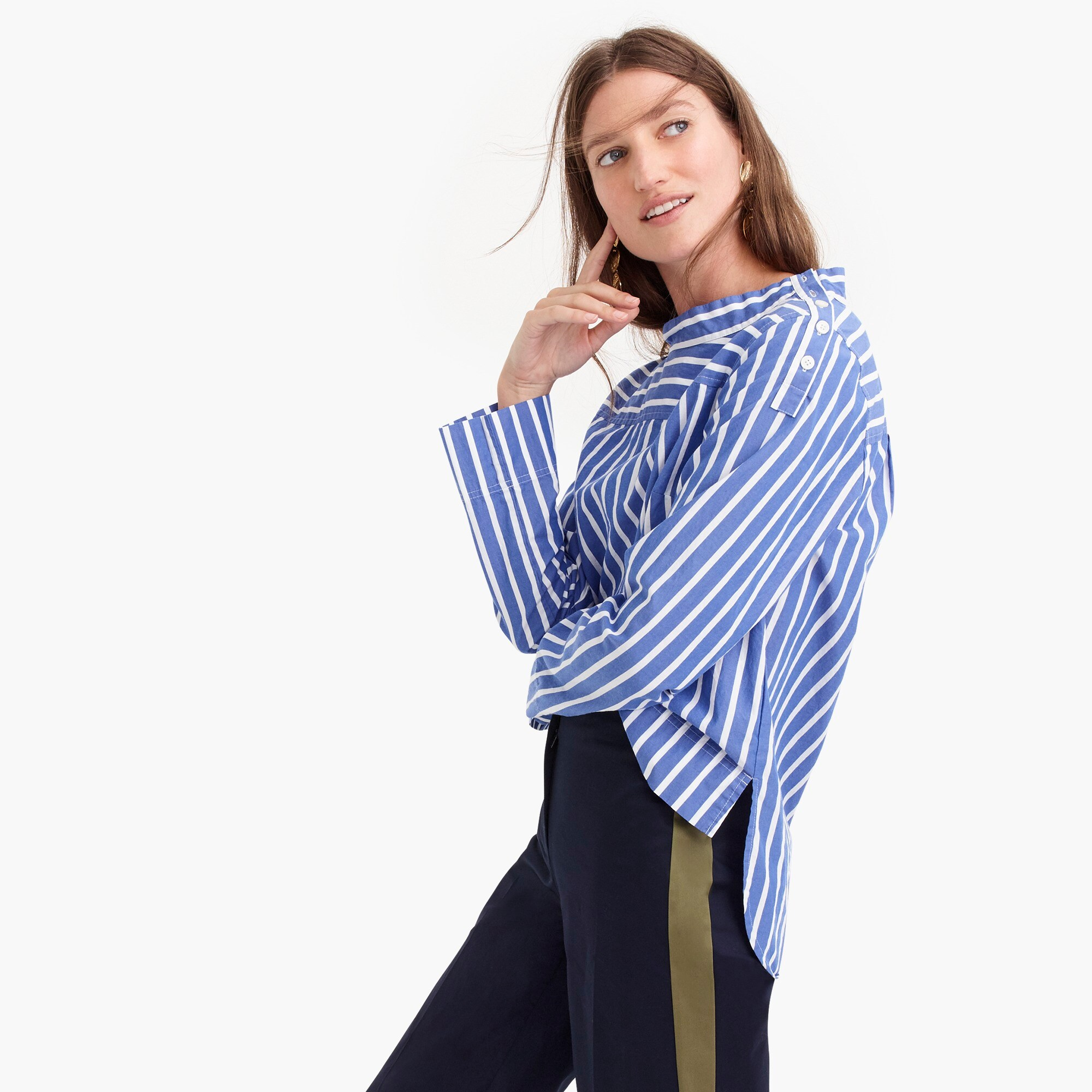Image 1 for Tall funnelneck striped shirt