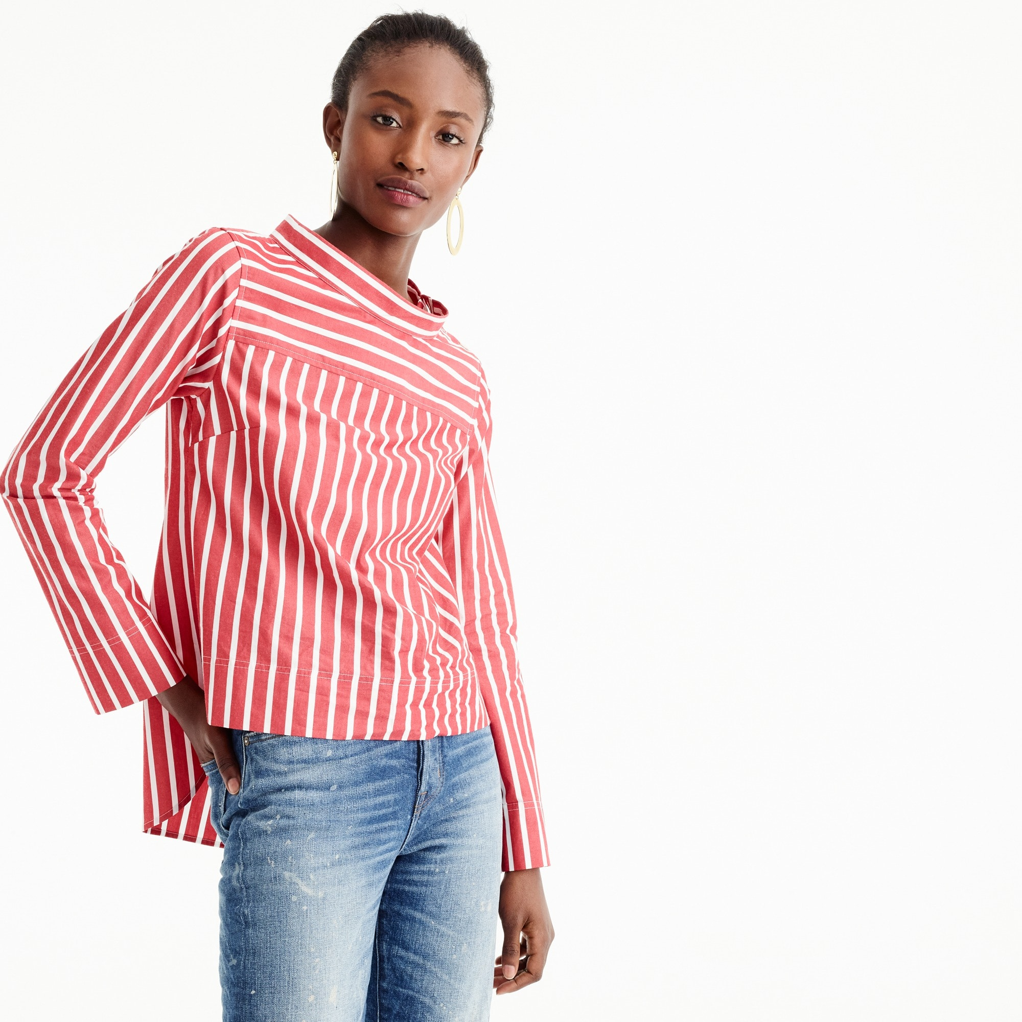 Funnelneck striped shirt