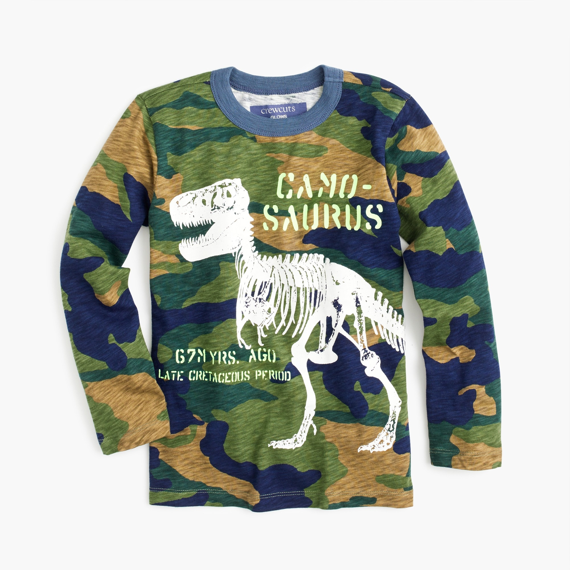 "boys' long-sleeve glow-in-the-dark ""camosaurus"" t-shirt : boy t-shirts & polos"
