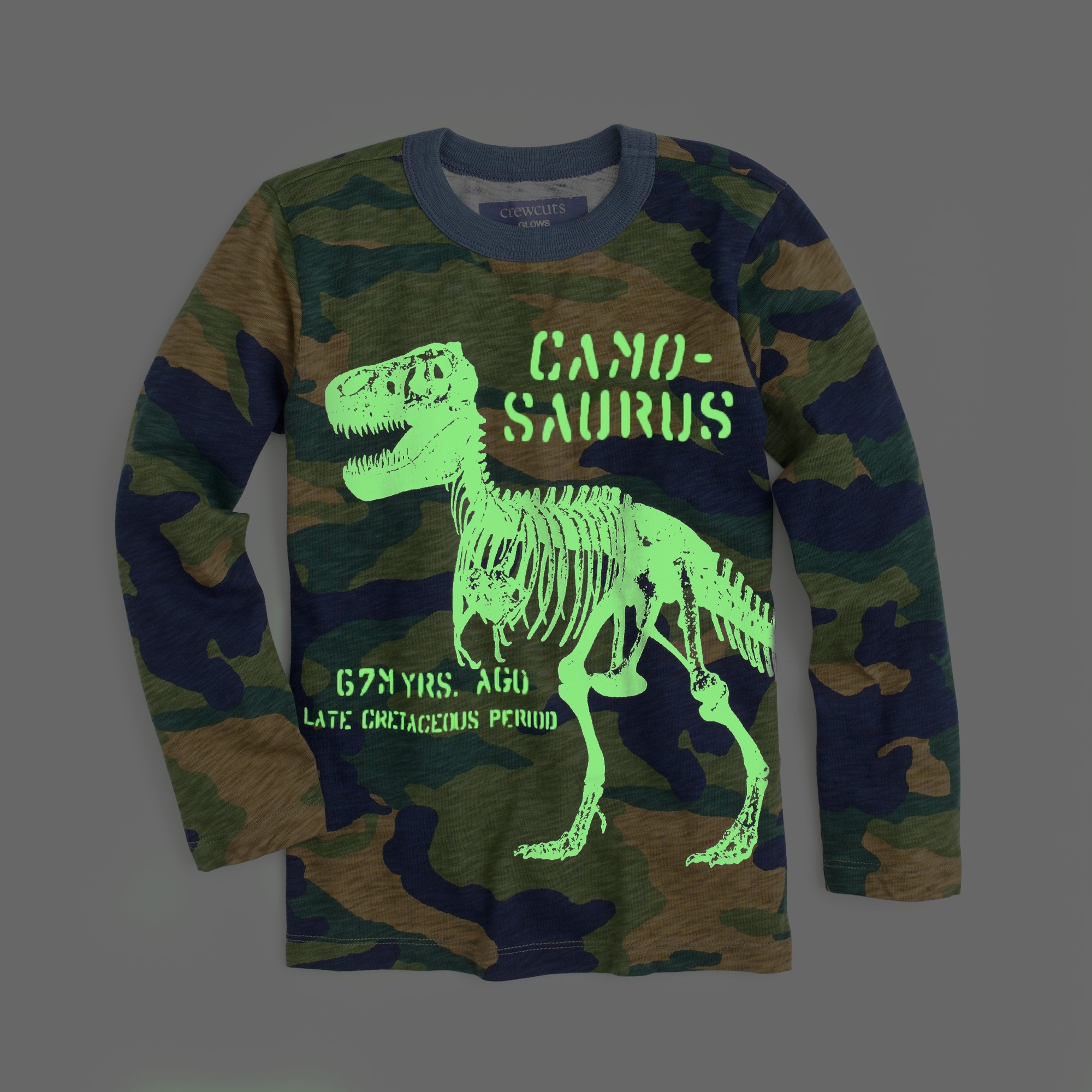 "Boys' long-sleeve glow-in-the-dark ""Camosaurus"" T-shirt"