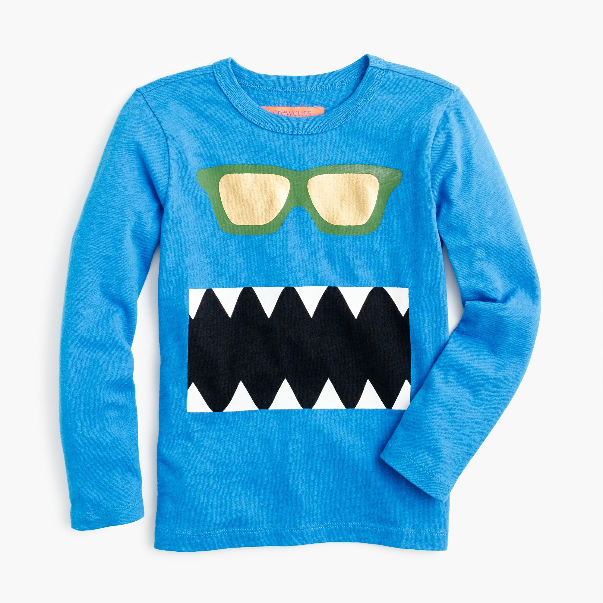 Boys' long-sleeve glow-in-the-dark snaggletooth monster T-shirt