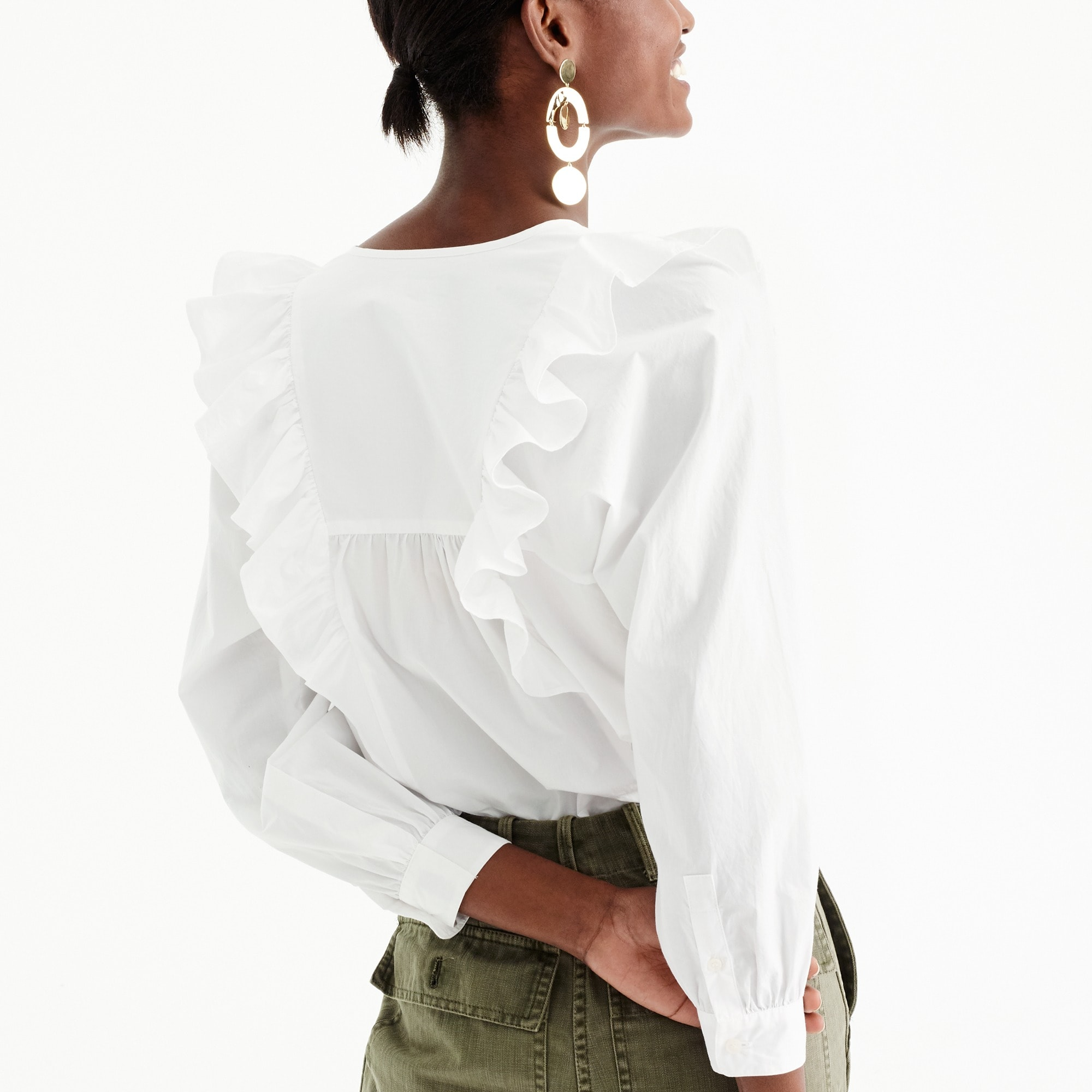 Image 4 for Tall ruffle-front white shirt