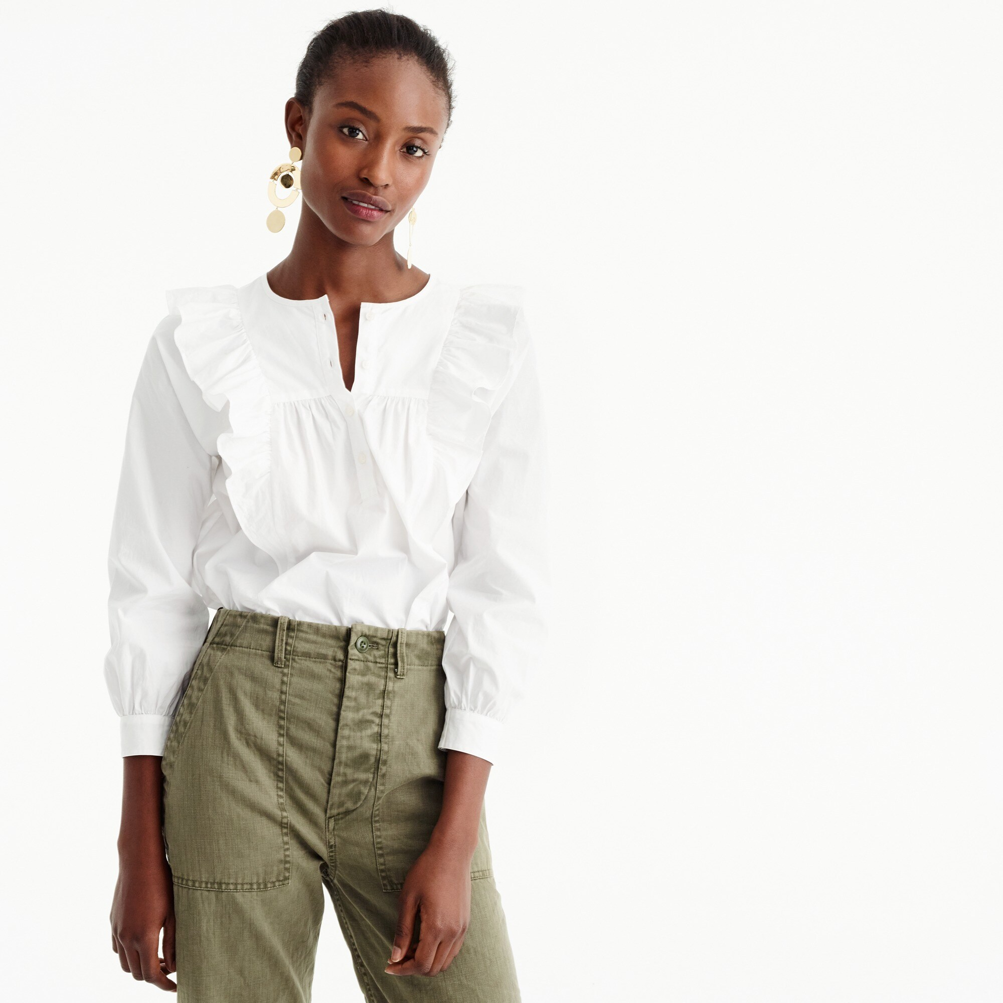 tall ruffle-front white shirt : women sleeved