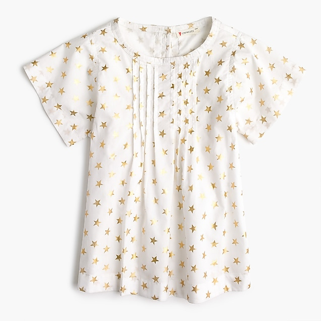 Girls' ruffled shirt in star print
