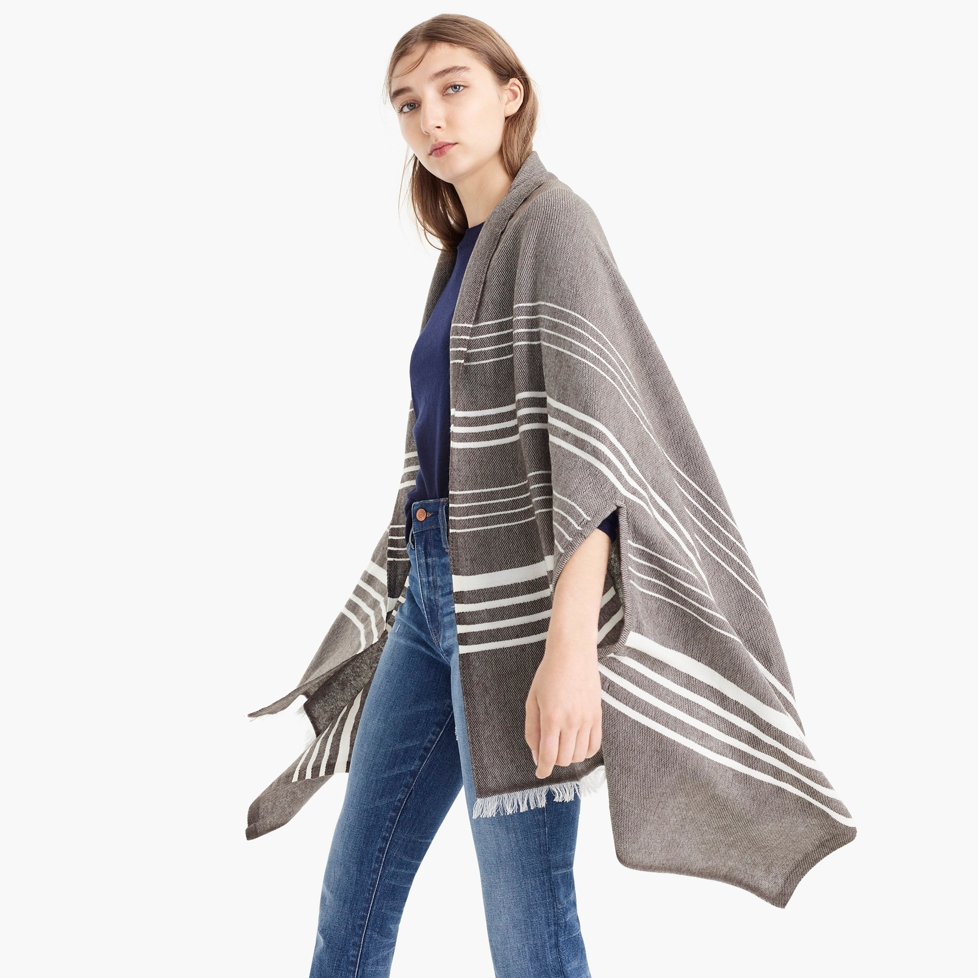 womens Striped cape-scarf