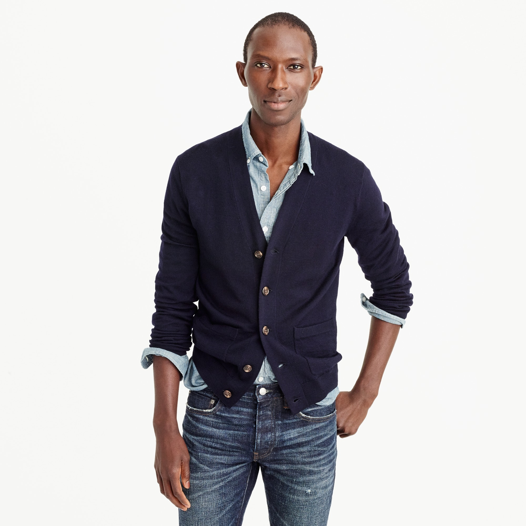 italian merino wool cardigan sweater : men merino
