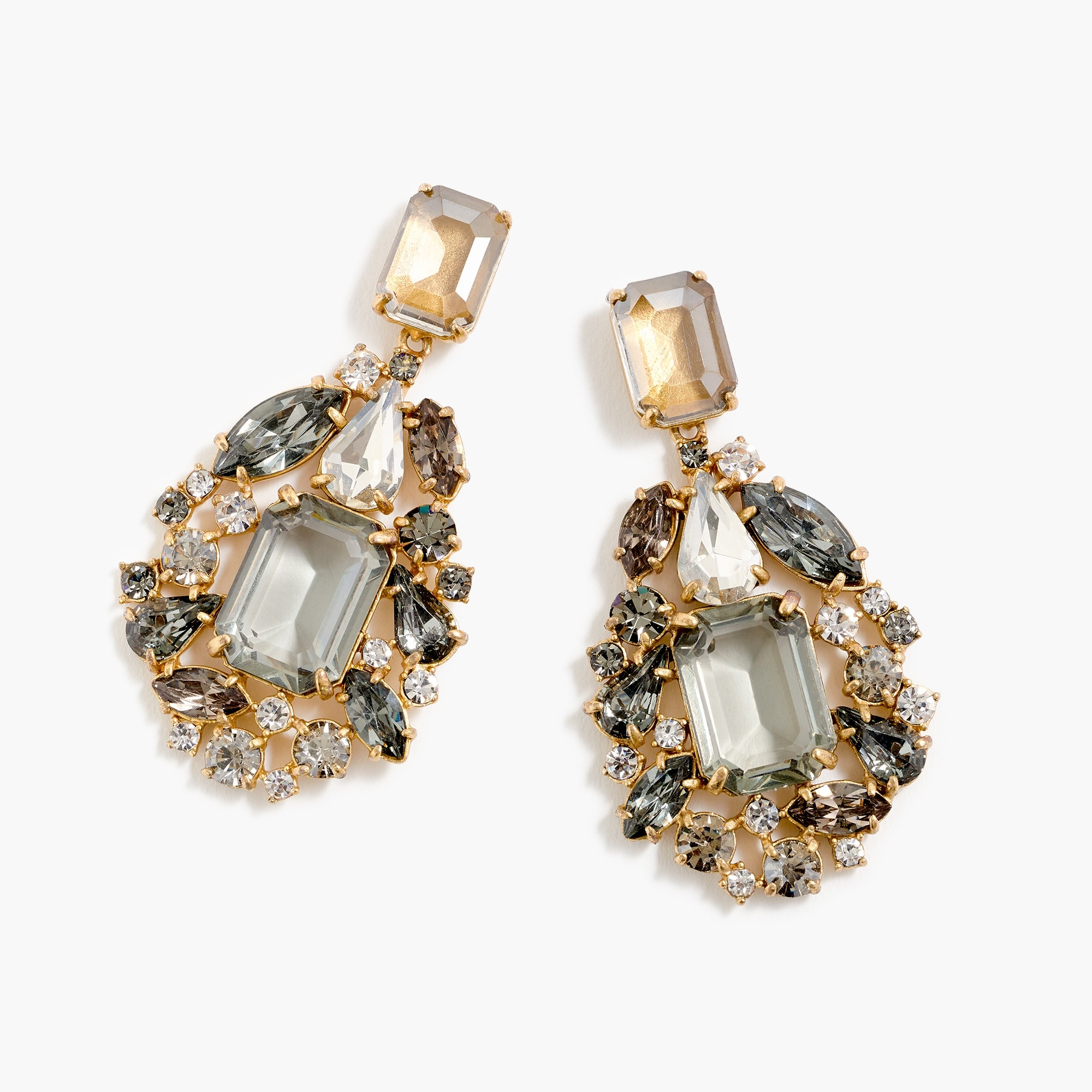 womens Cluster drop stone earrings