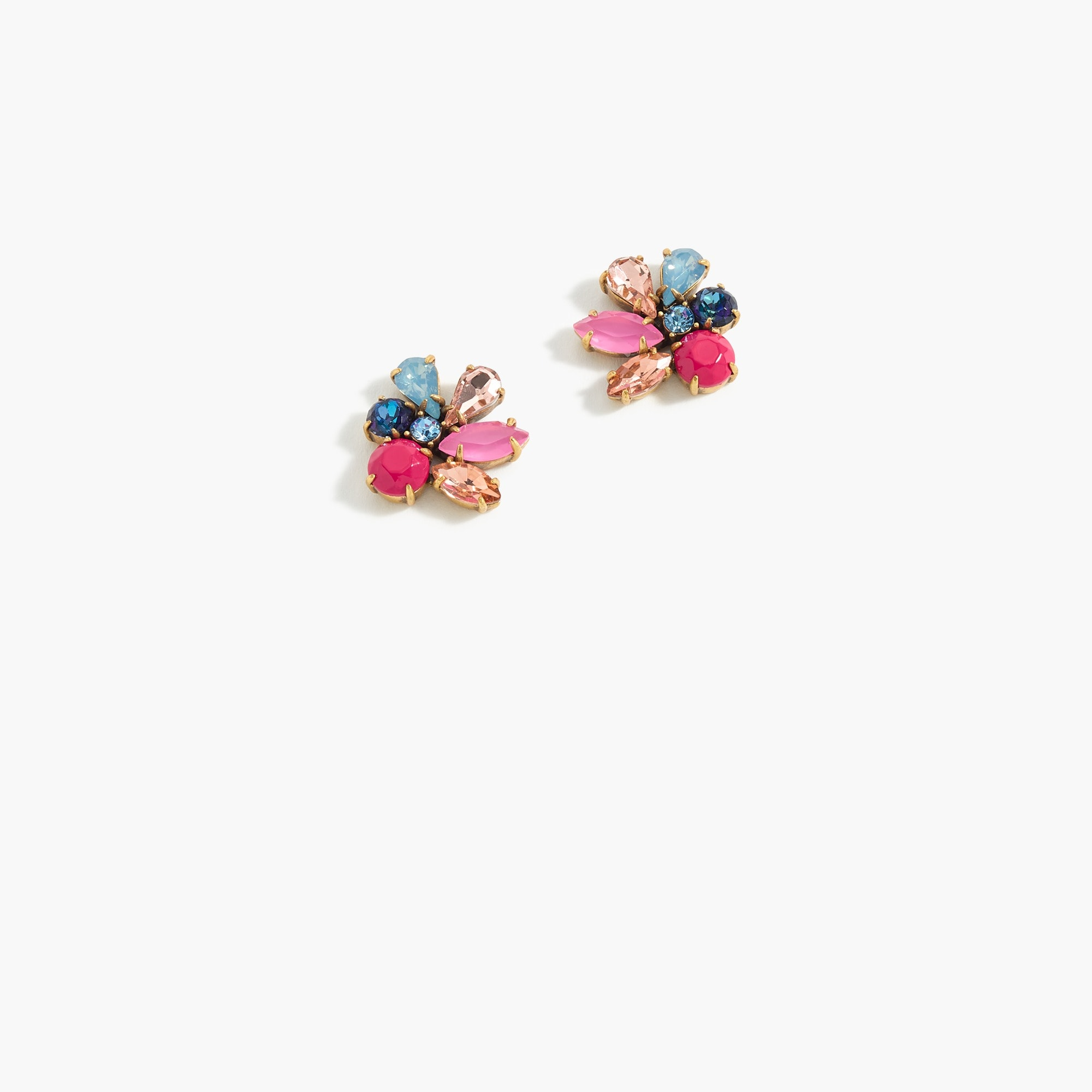womens Crystal cluster clip-on earrings
