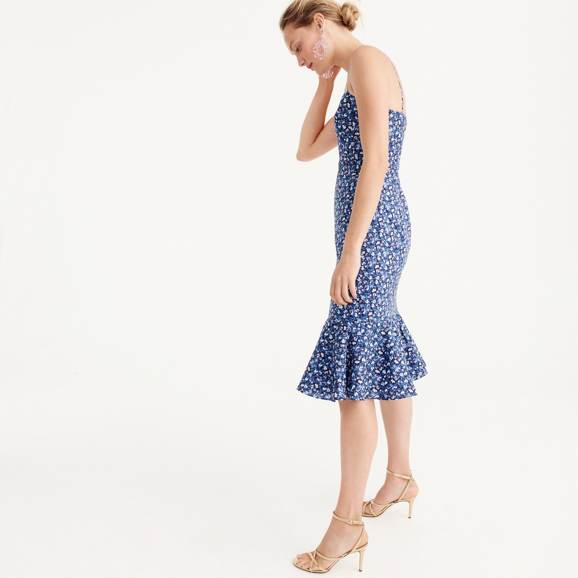 Image 5 for Ruffle-hem midi dress in Liberty® Sarah floral