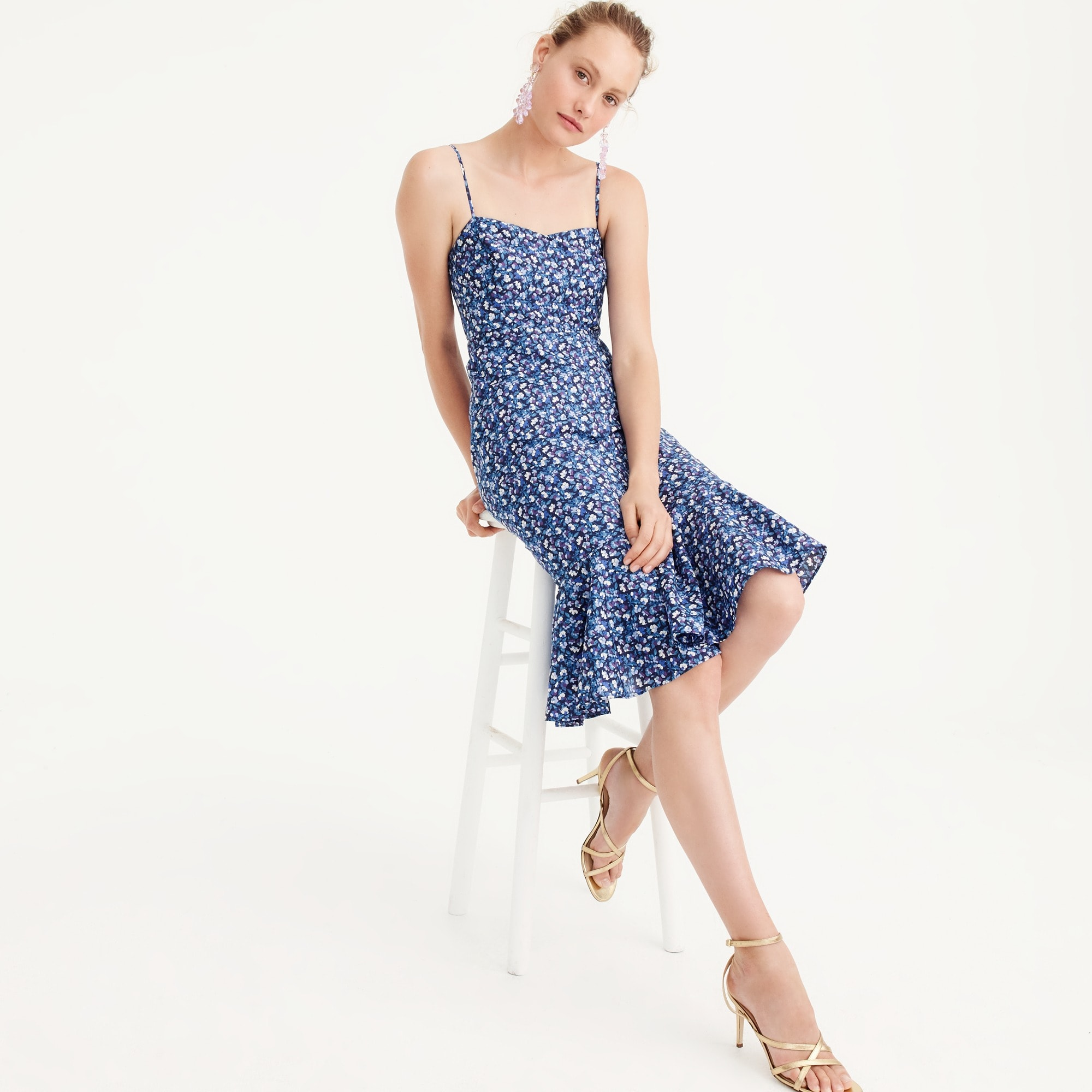 Ruffle-hem midi dress in Liberty® Sarah floral