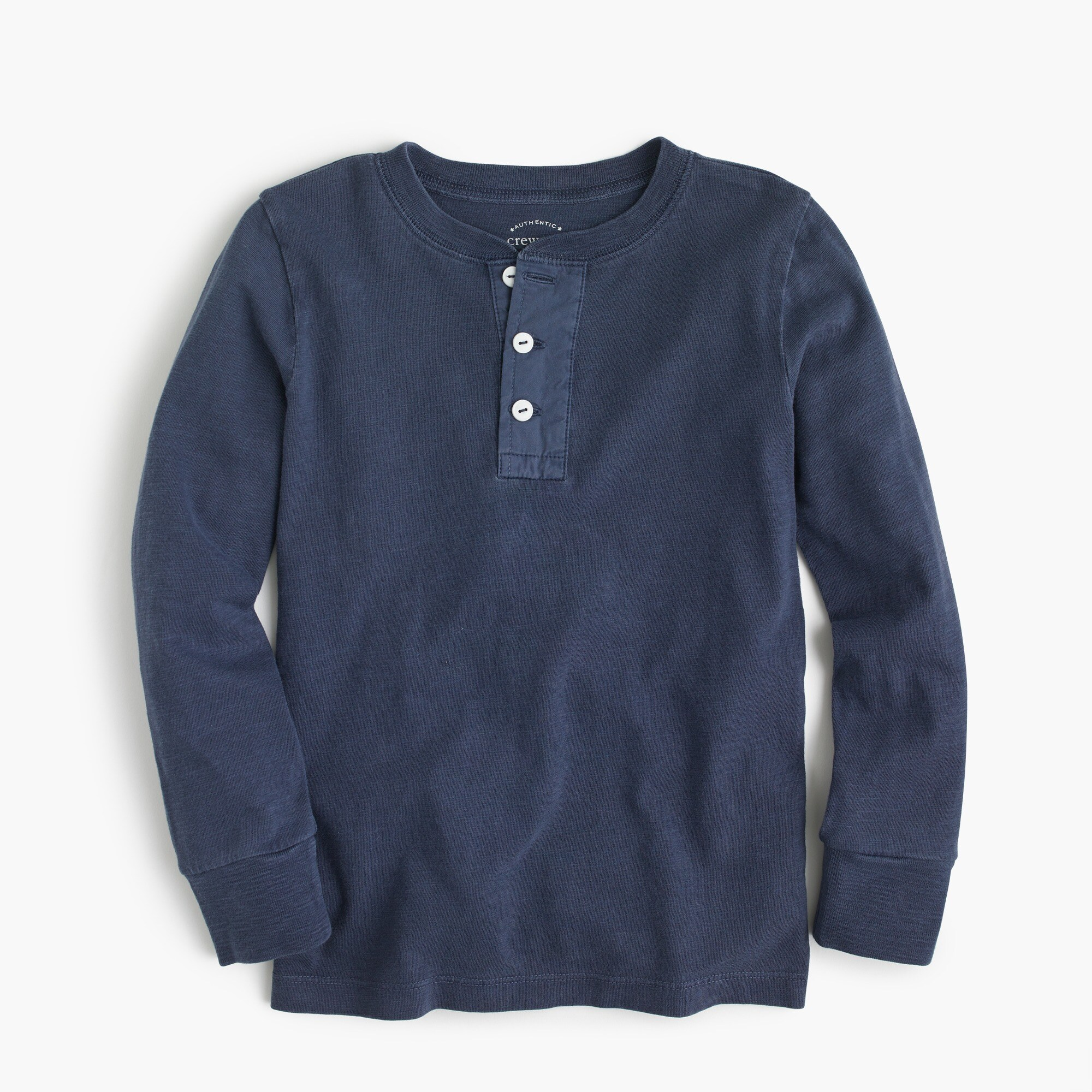 Boys' long-sleeve garment-dyed henley shirt