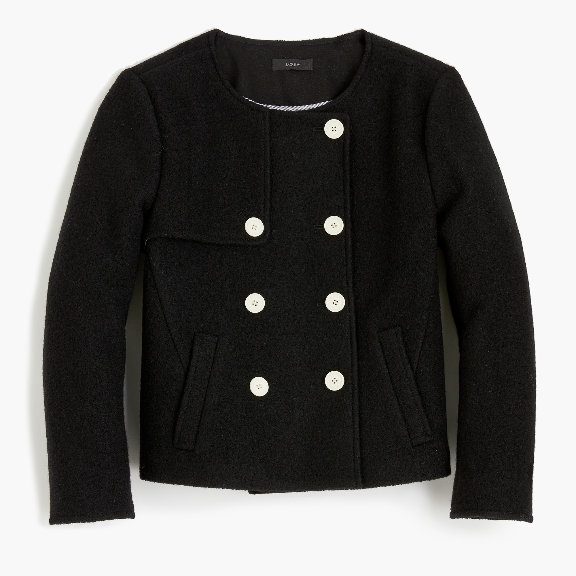 Cropped jacket in boiled wool