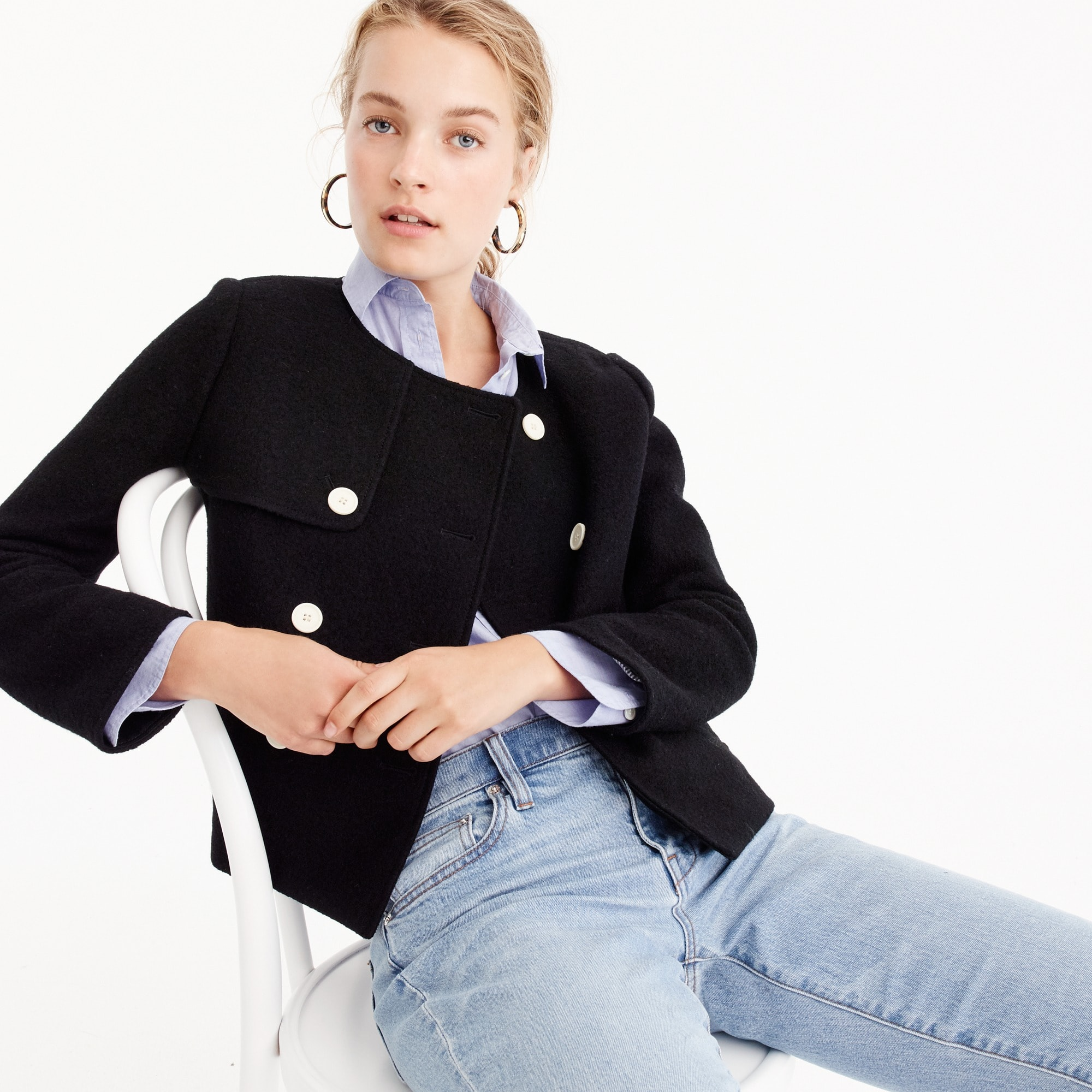 cropped jacket in boiled wool : women wool