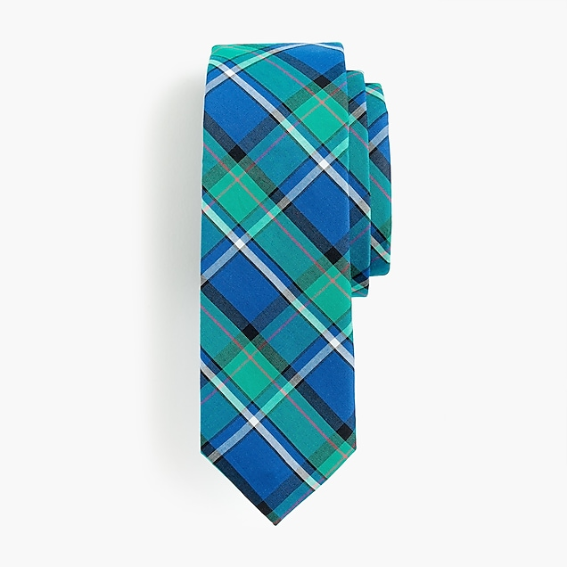 Boys' cotton tie in plaid