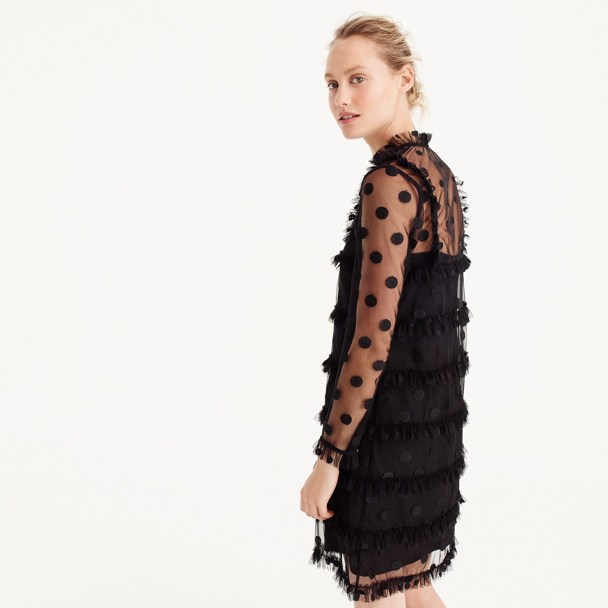 Polka-dot embroidered tulle dress