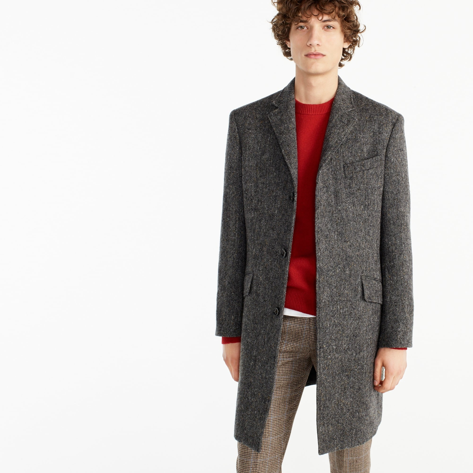 Ludlow topcoat in textured grey tweed men coats & jackets c