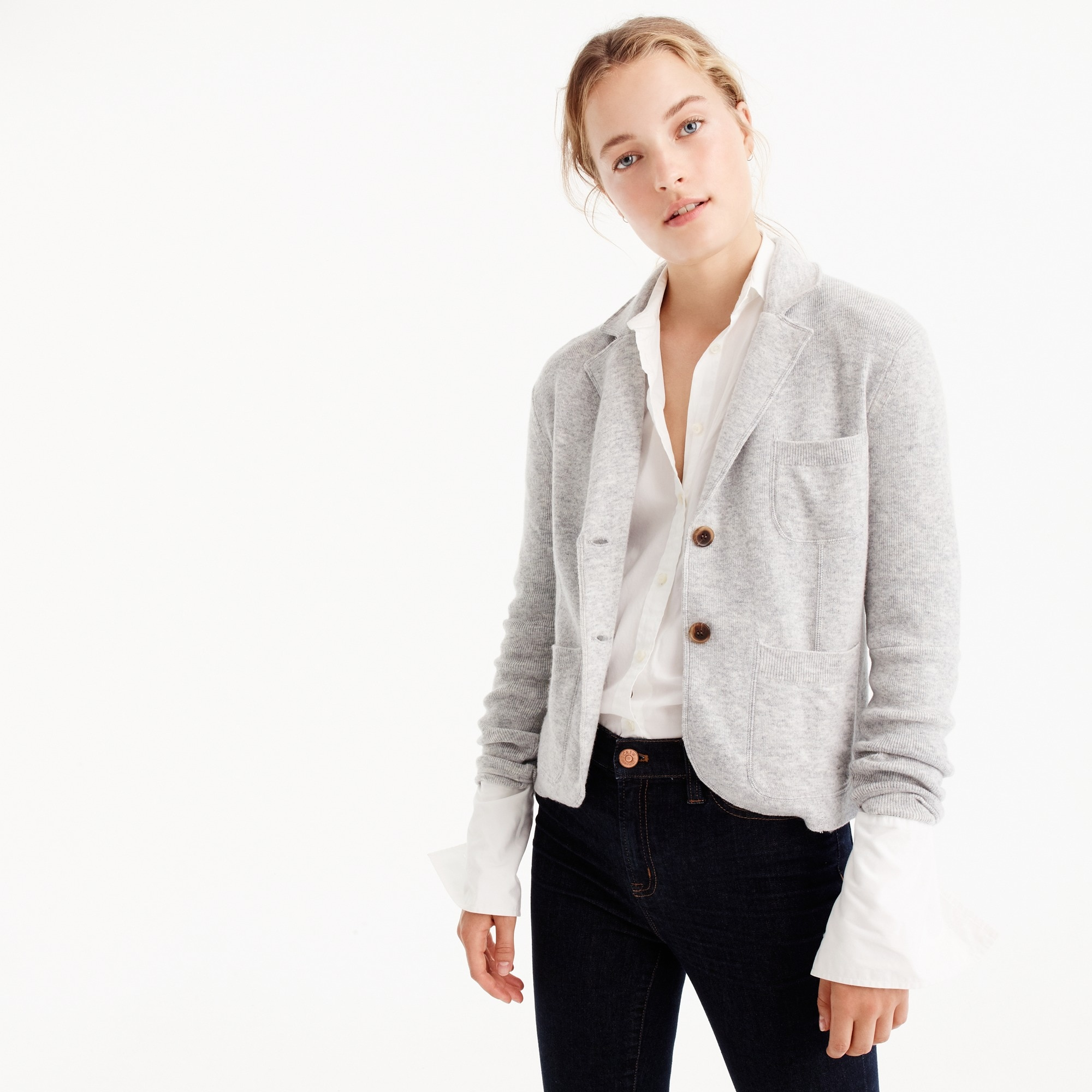 Cropped sweater-blazer