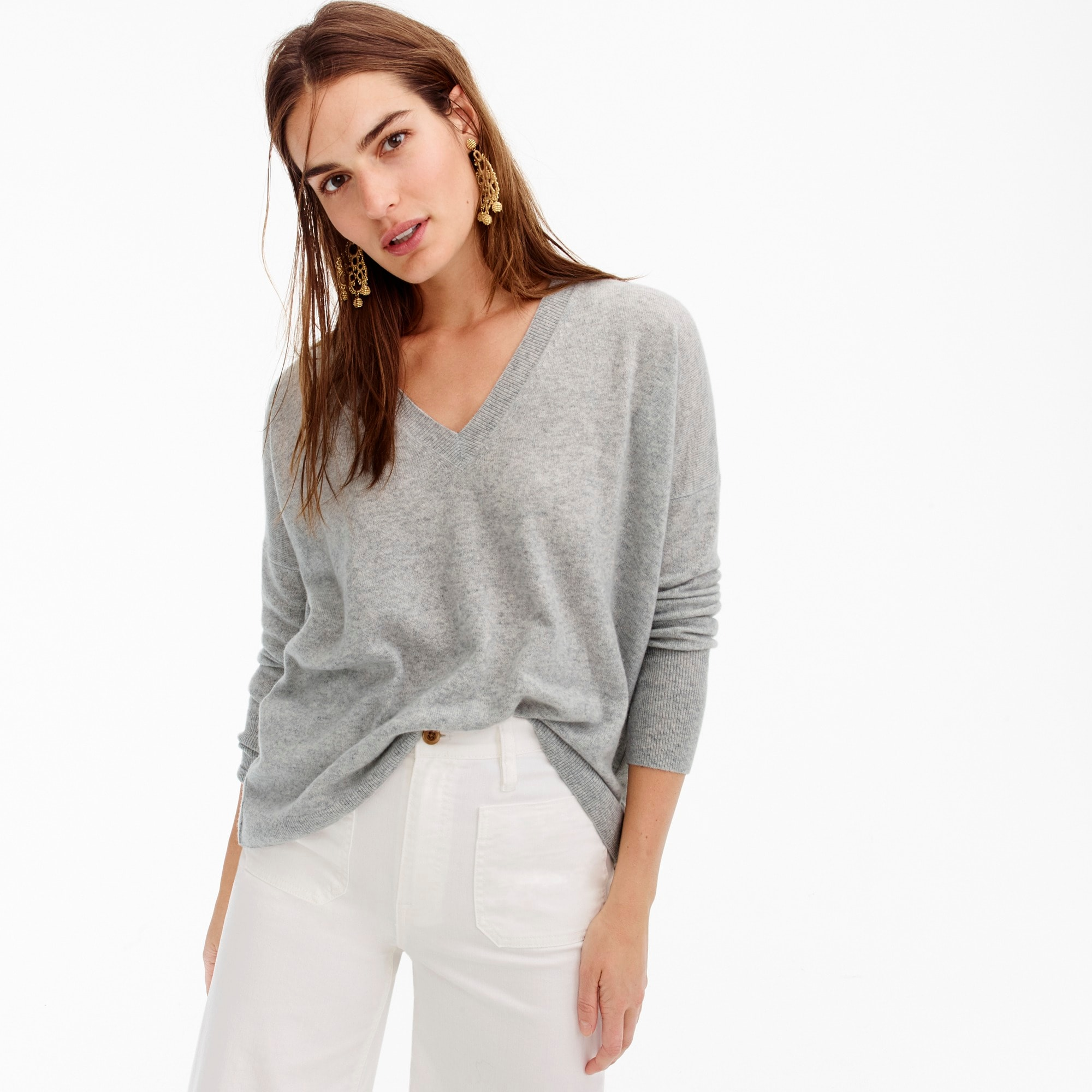 Image 1 for V-neck Boyfriend sweater in everyday cashmere