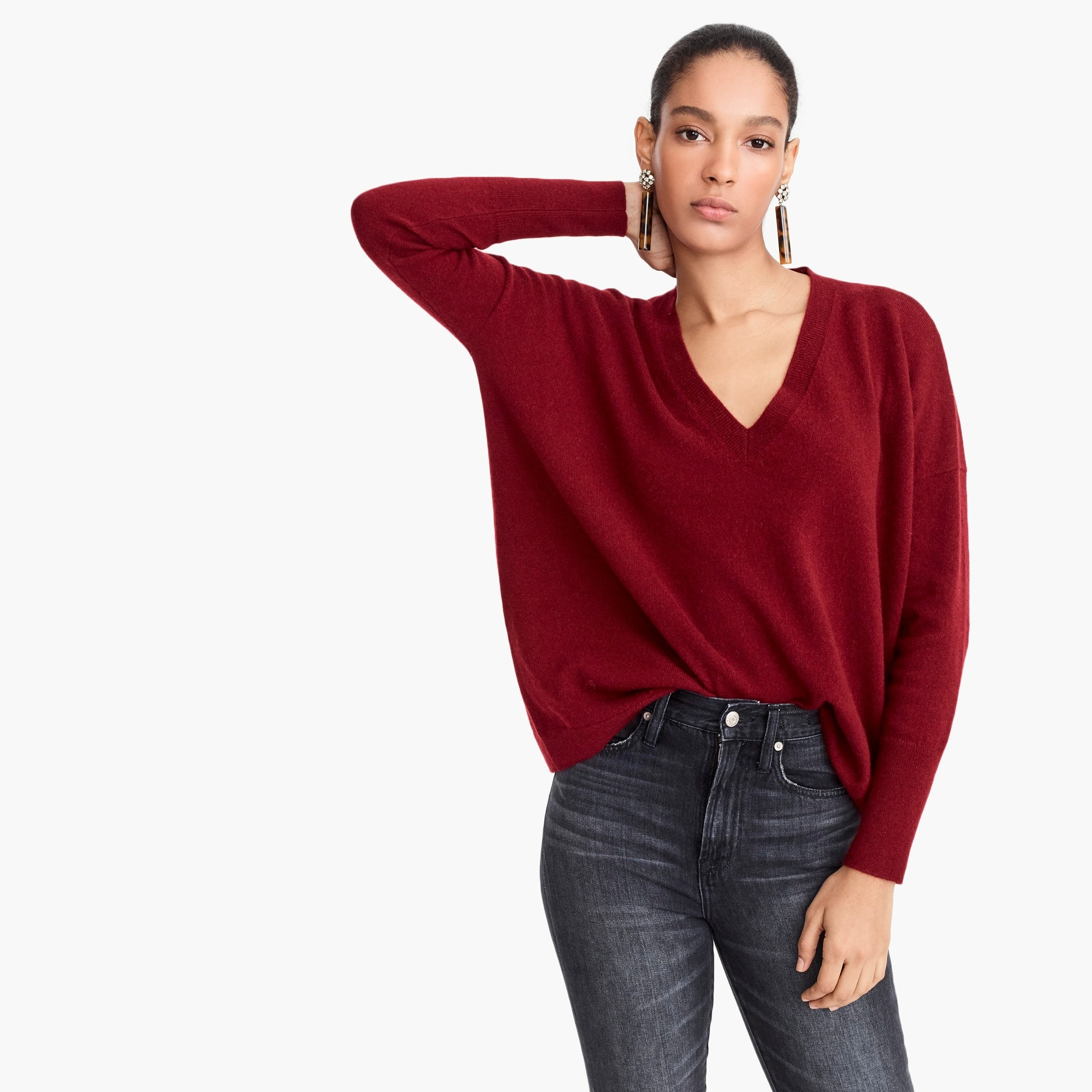 womens V-neck Boyfriend sweater in everyday cashmere