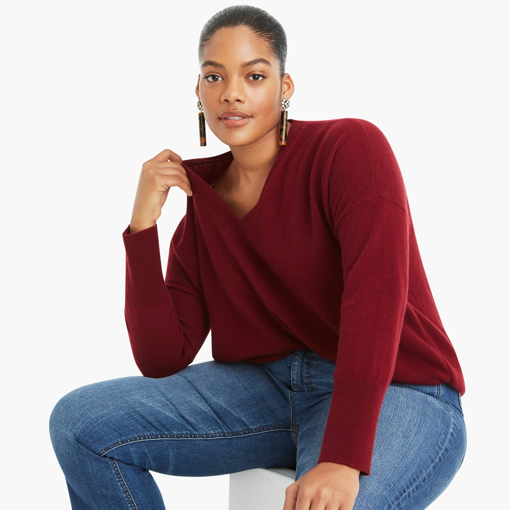 V-neck Boyfriend sweater in everyday cashmere