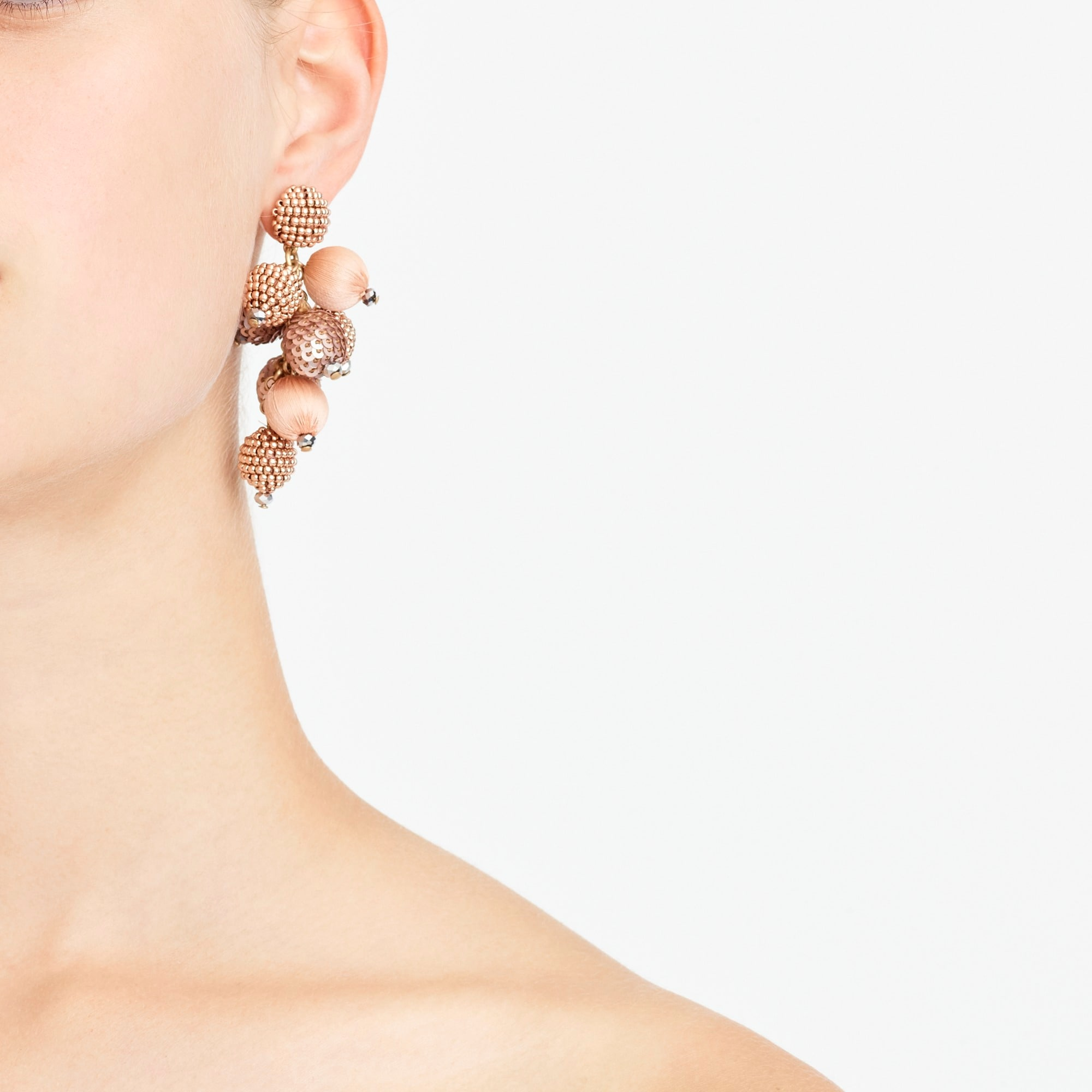 Mixed-material cluster earrings