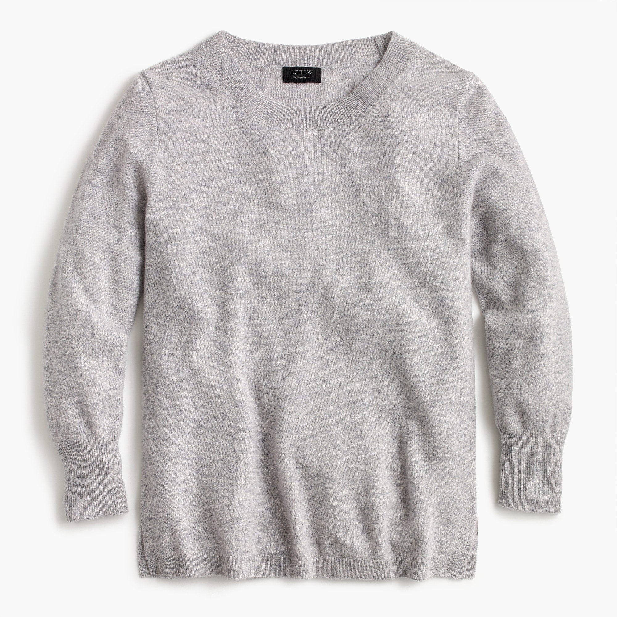 Three-quarter sleeve everyday cashmere crewneck sweater