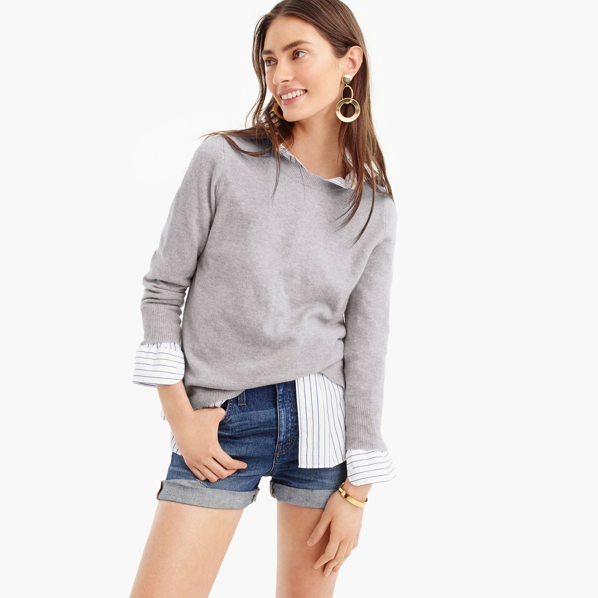womens Three-quarter sleeve everyday cashmere crewneck sweater