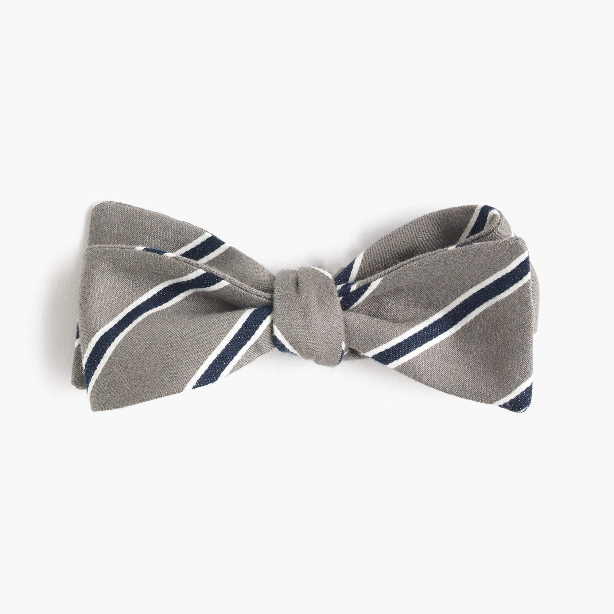 Cotton-silk bow tie in grey stripe