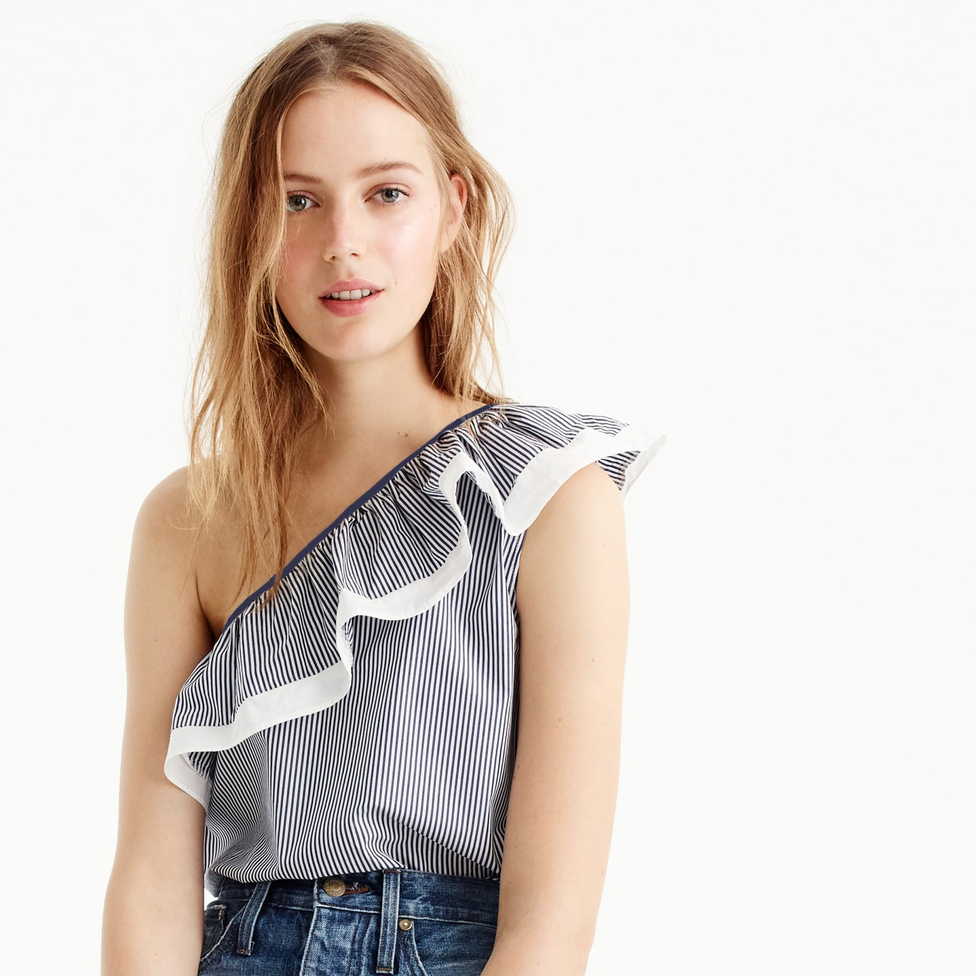 One-shoulder ruffle top in stripe