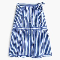 Petite button-front striped skirt