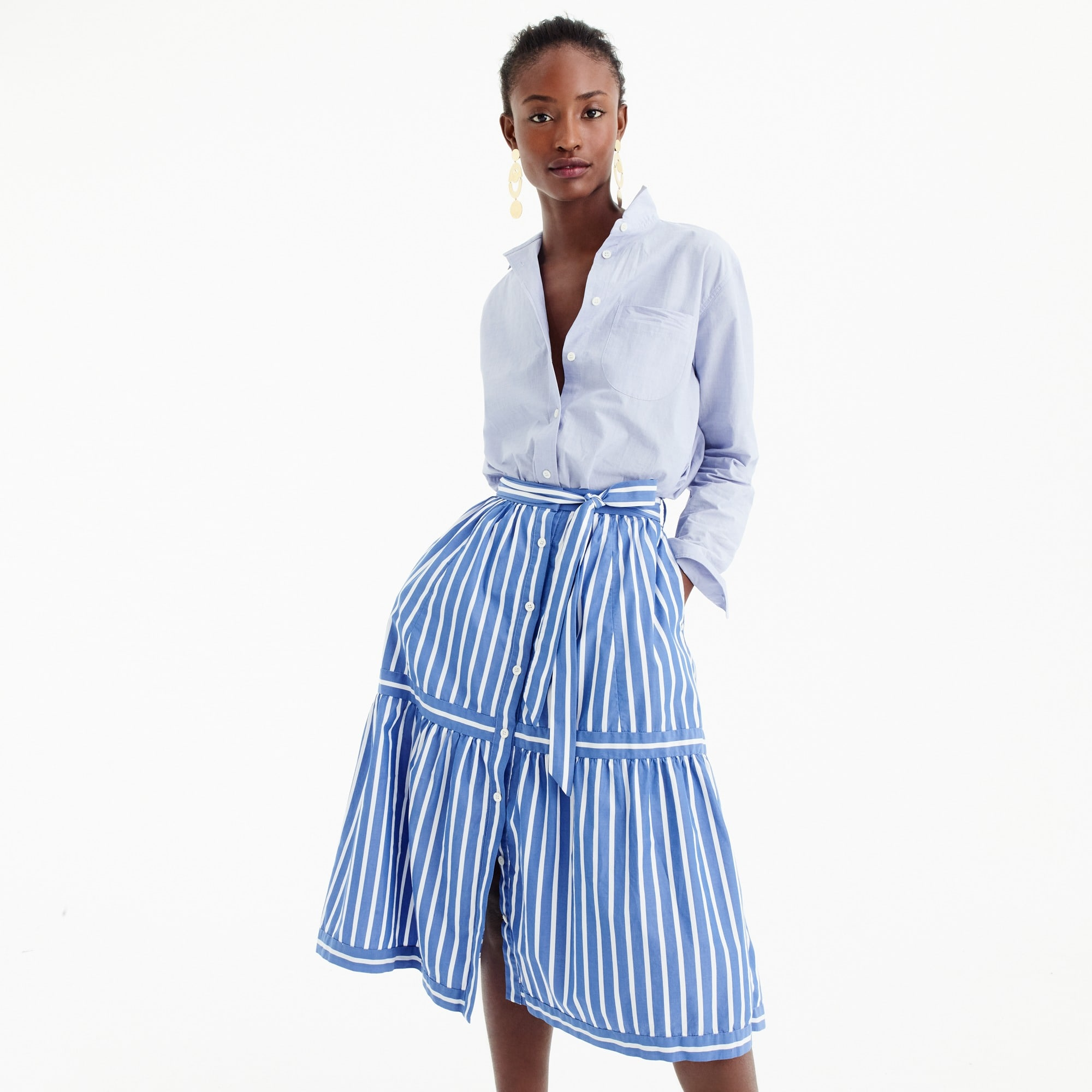 Image 1 for Petite button-front striped skirt