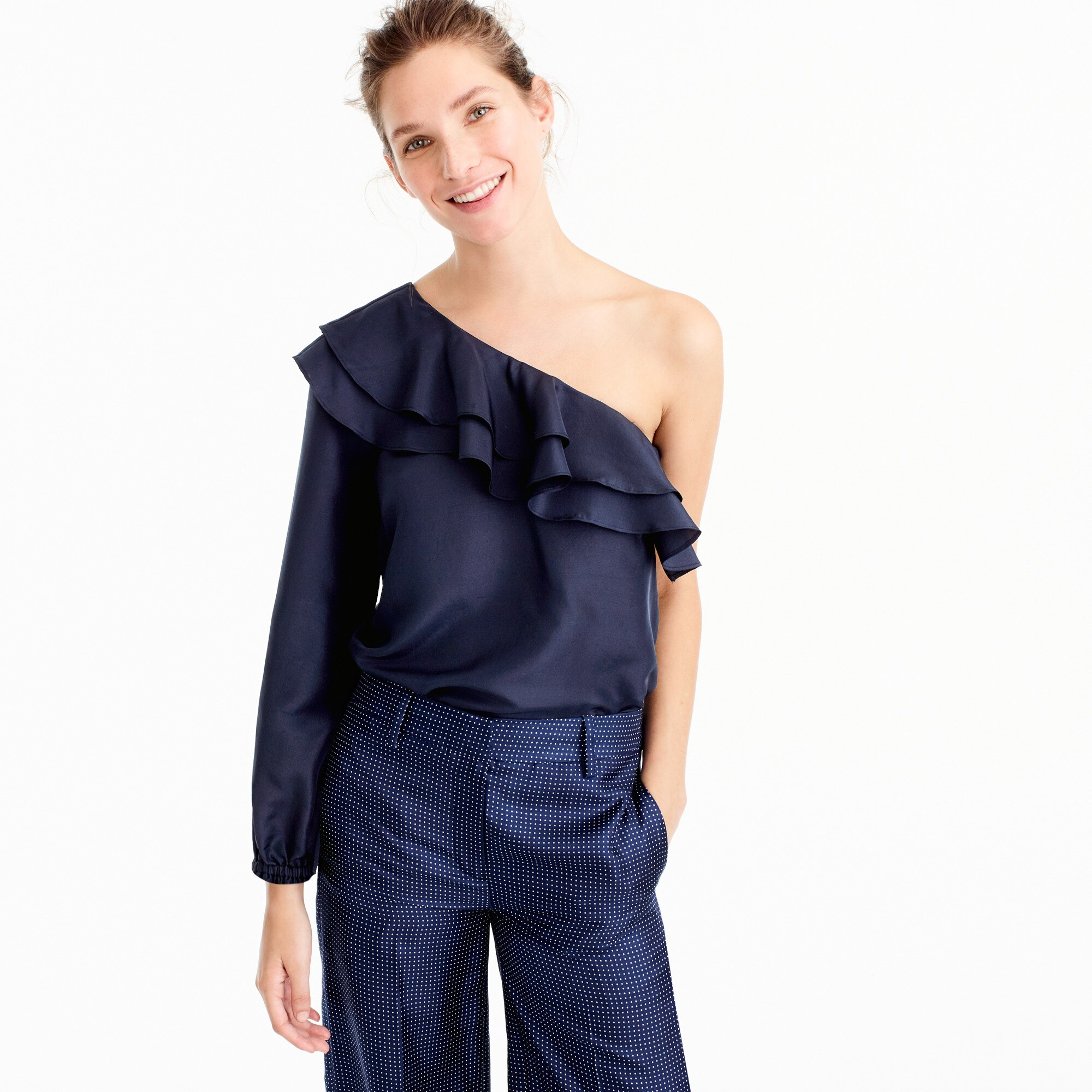 petite one-shoulder silk shantung top : women shirts & tops