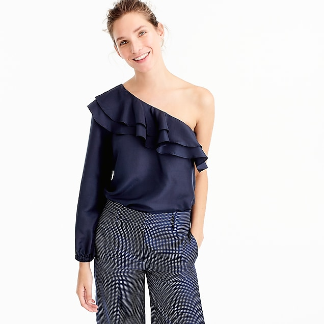 One-shoulder silk shantung top