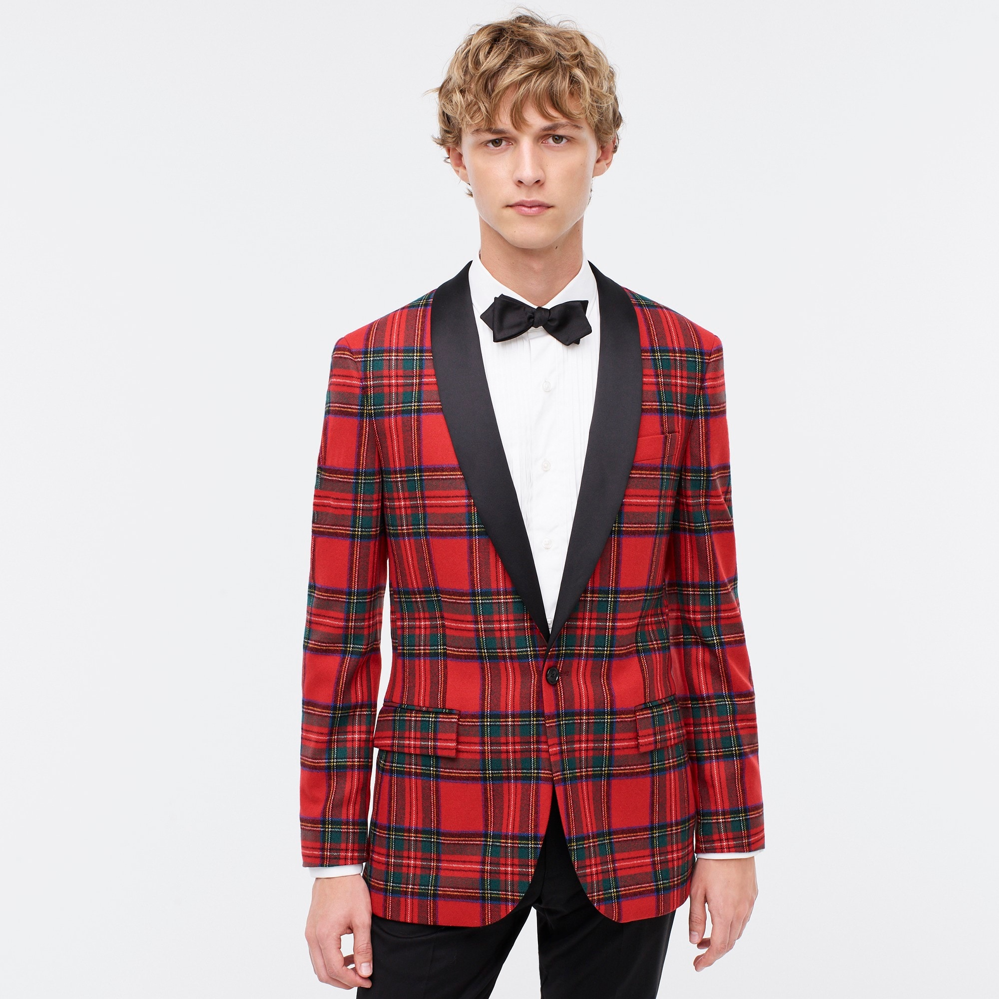 Ludlow Slim-fit dinner jacket in tartan stretch wool
