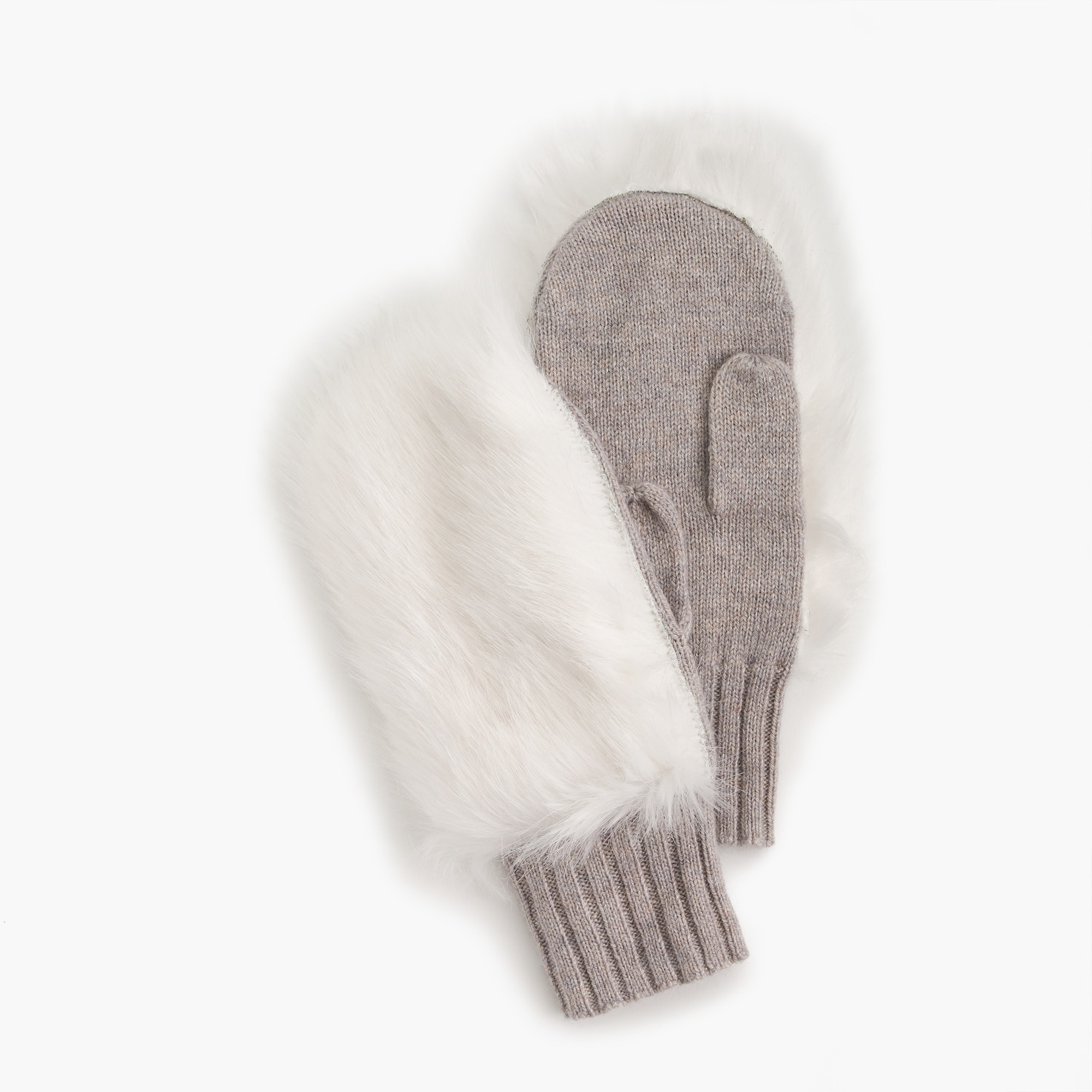 Girls' faux fur-trimmed mittens