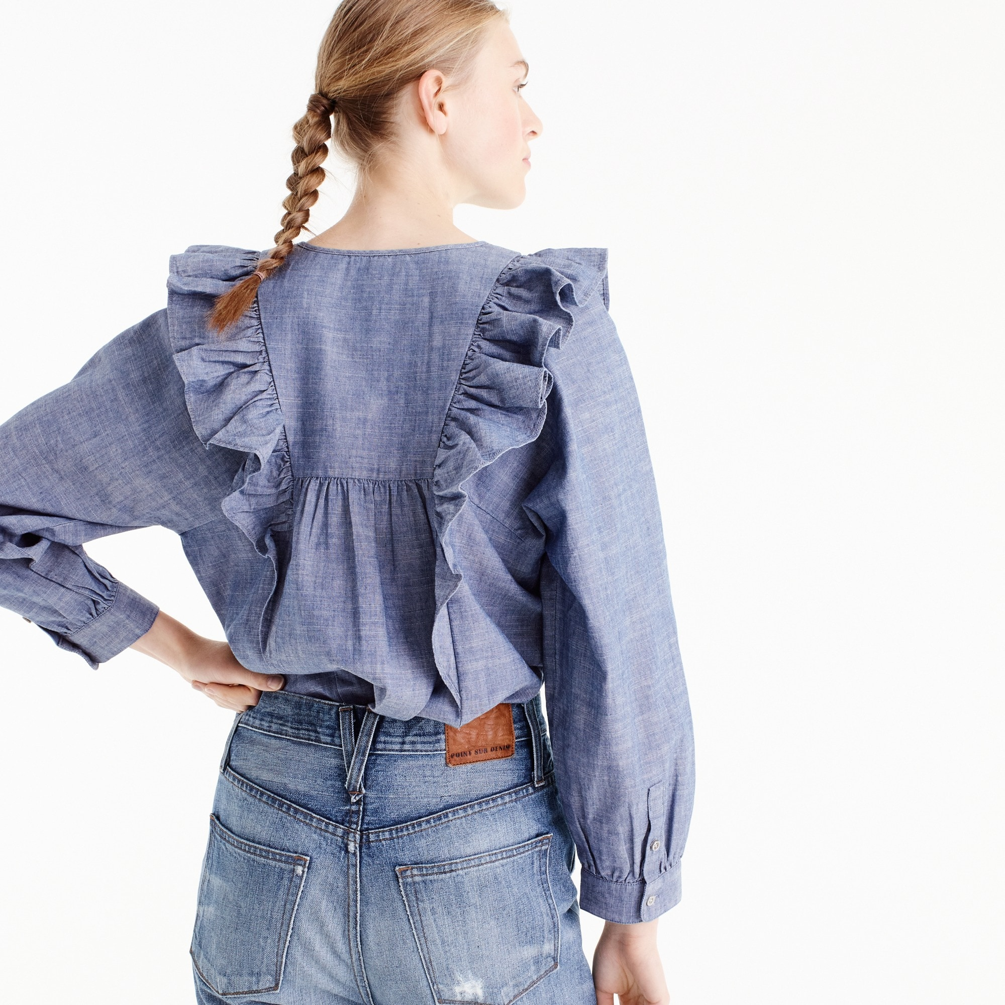 Tall ruffle-front chambray top